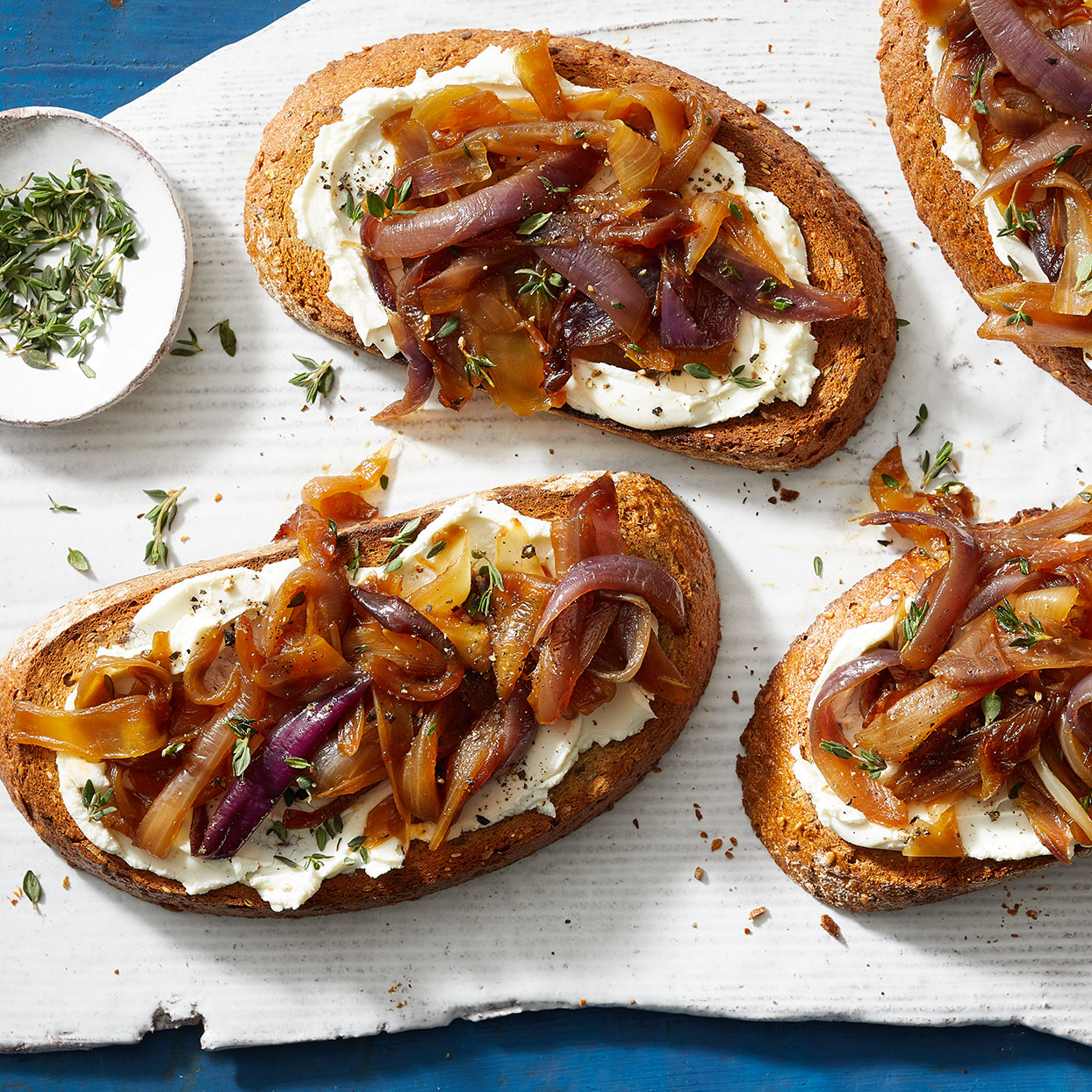 Sweet caramelized onions and creamy goat cheese team up in this easy yet elegant dish that makes a great appetizer or side with soup or salad.