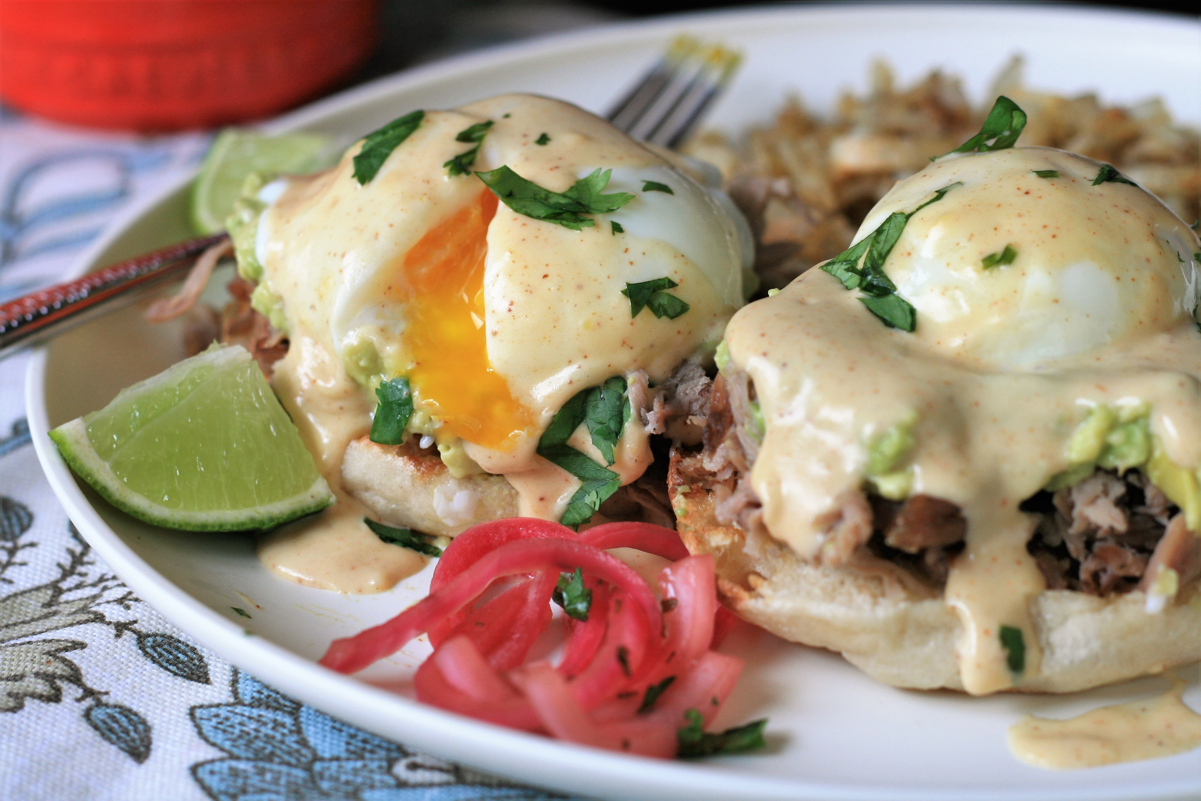 "Here's a Mexican twist on eggs Benedict with avocado slices, leftover carnitas, and a chipotle-flavored hollandaise sauce. ""Don't know what to make with your leftover carnitas? Turn it into a savory breakfast with a Mexican twist,"" says France C. ""Garnish with cilantro and pickled red onion, if desired."""