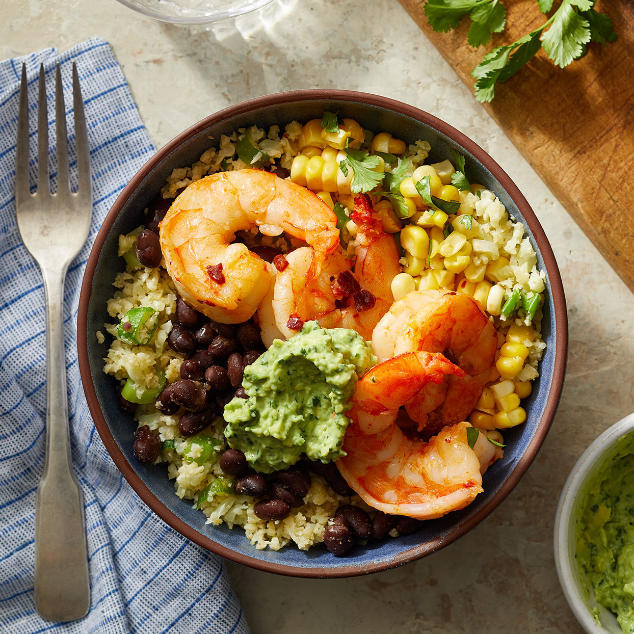 Southwestern Cauliflower Rice Bowls with Shrimp & Avocado Crema Trusted Brands