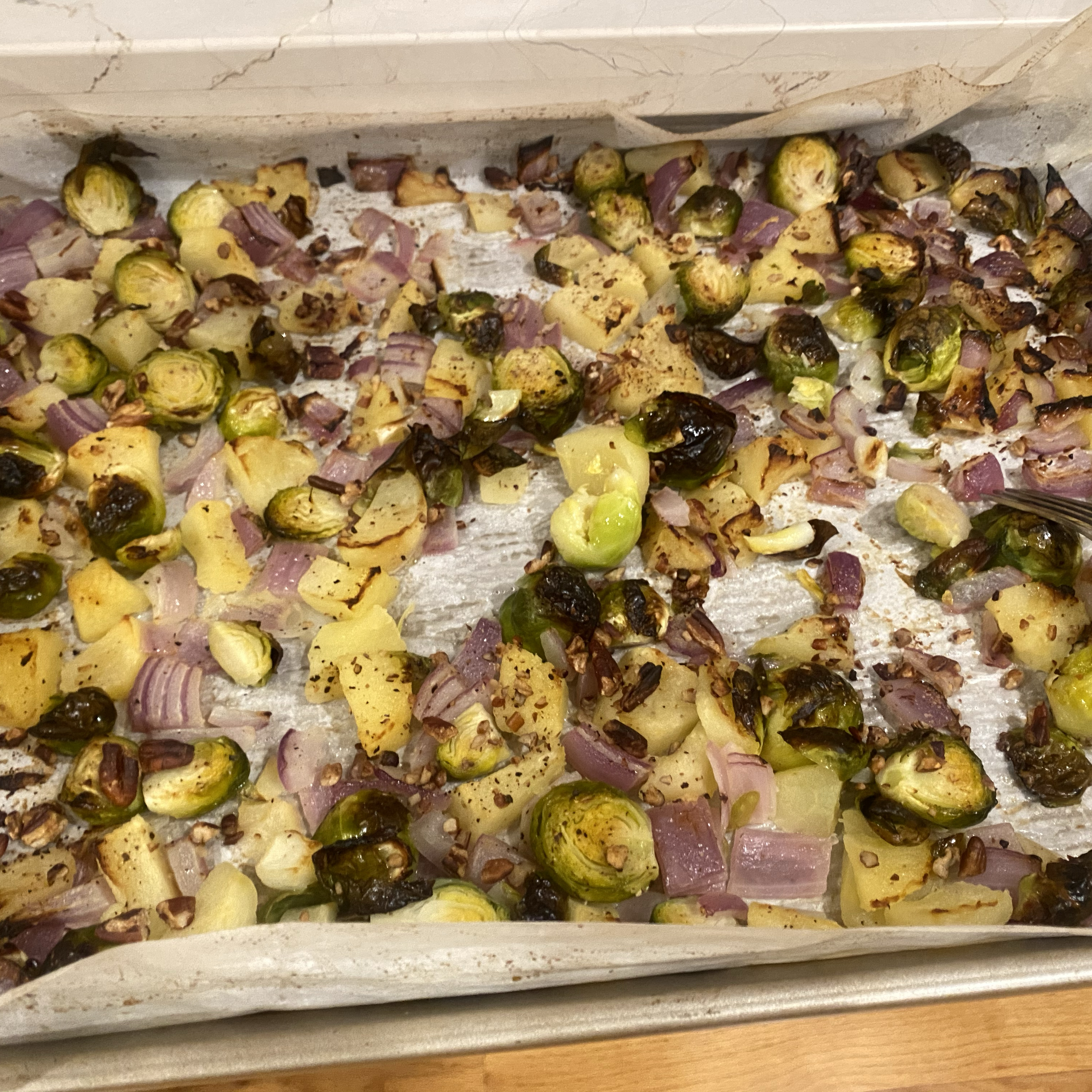 Roasted Apples and Brussels Sprouts