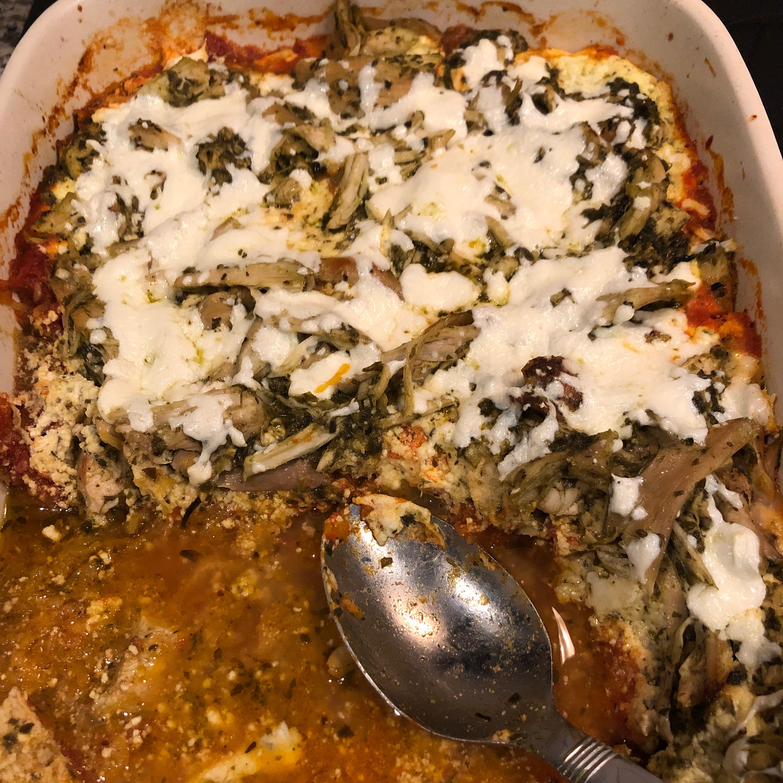 Pesto Chicken Spaghetti Squash Bake