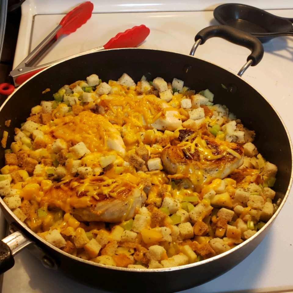 Skillet Chicken and Apple Stuffing
