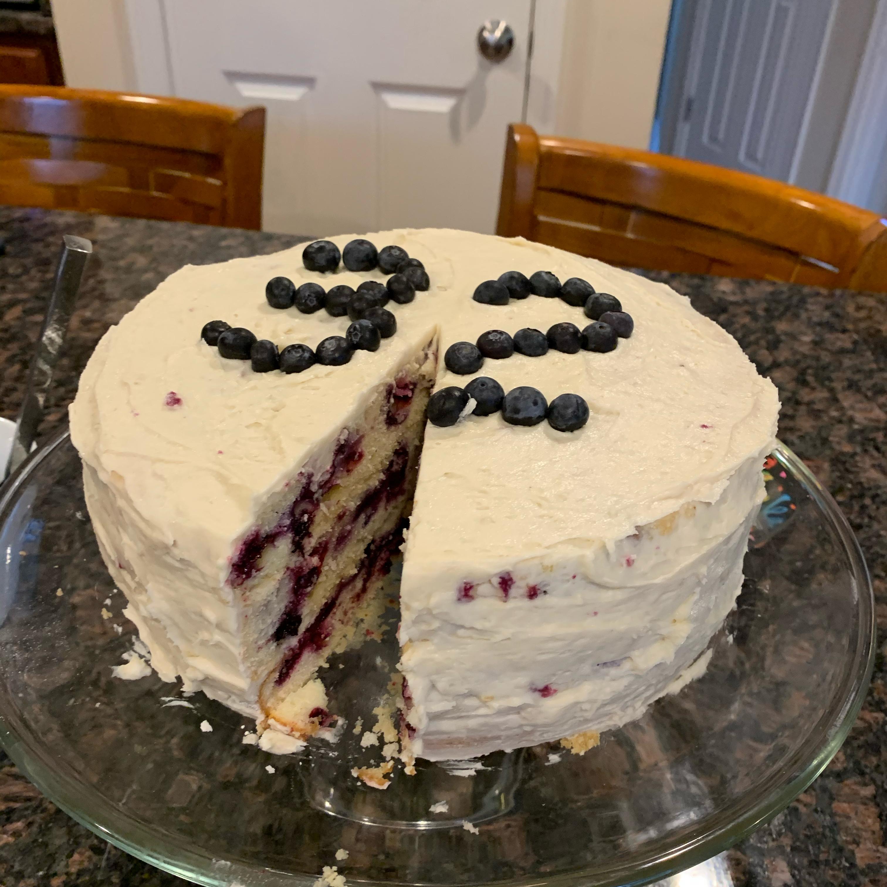 Blueberry Lemon Cake with Buttercream Frosting