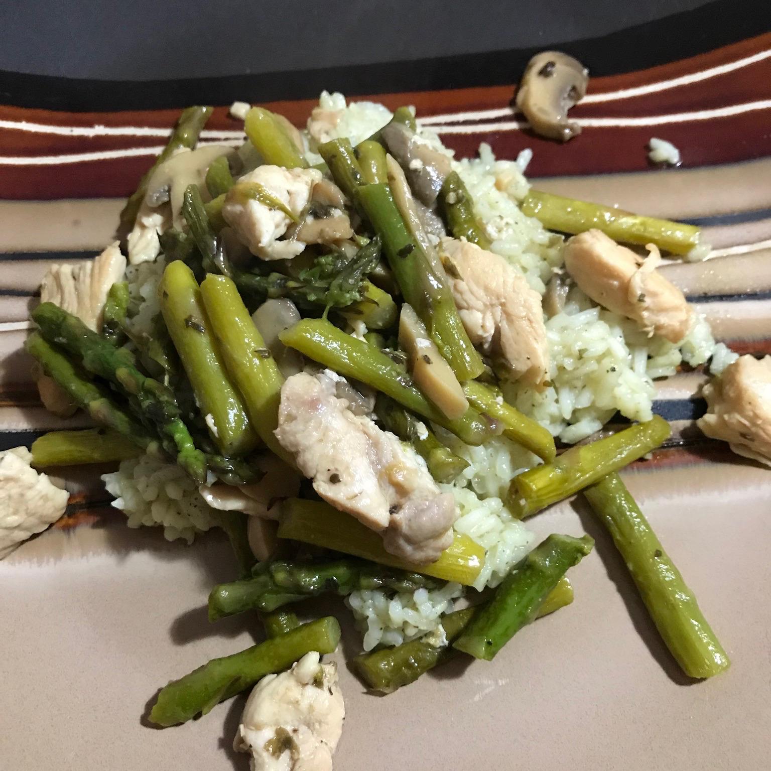 Chicken, Asparagus, and Mushroom Skillet Carol M