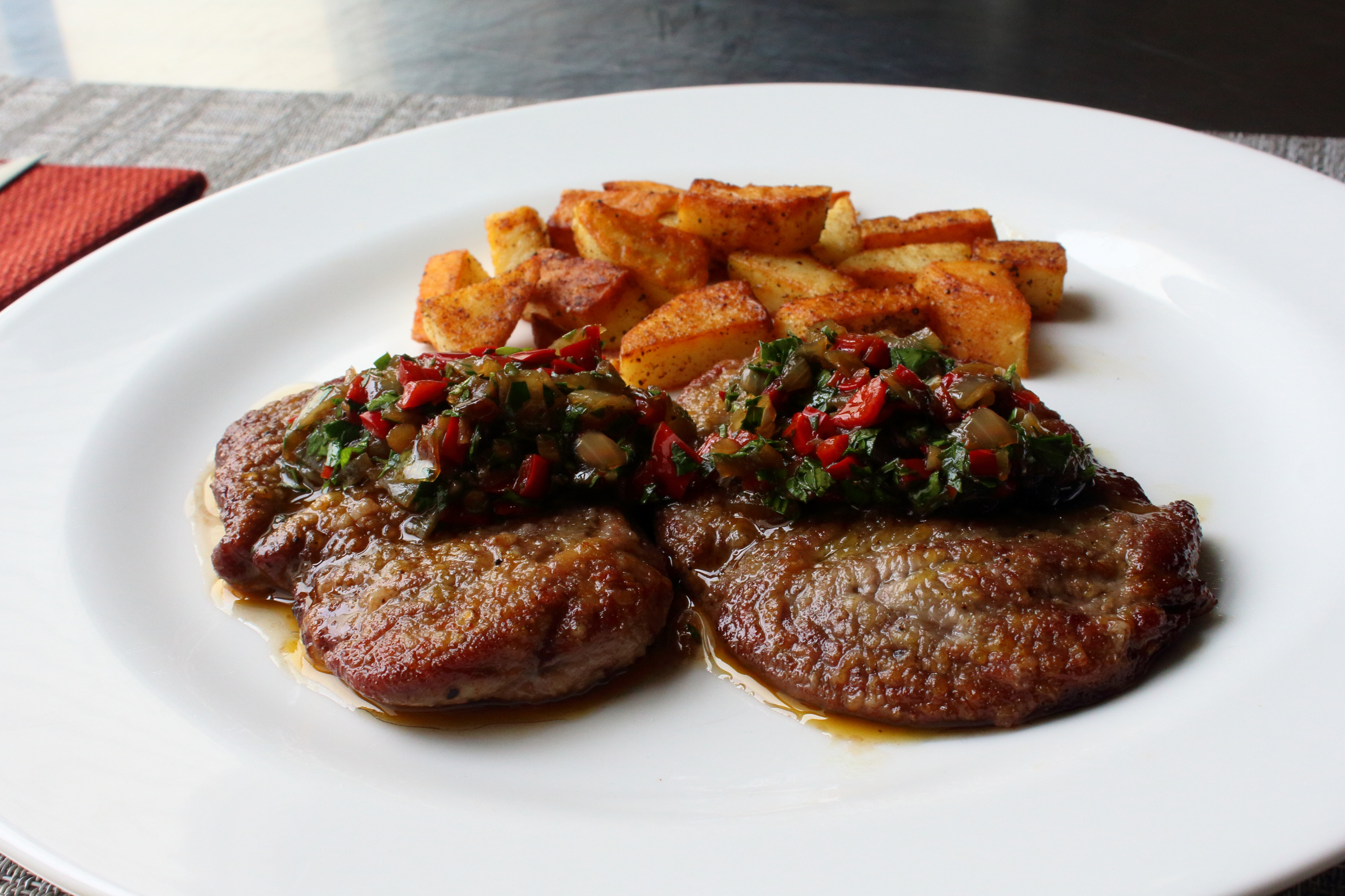 Lamb Scallopini with Pepper and Onion Agrodolce