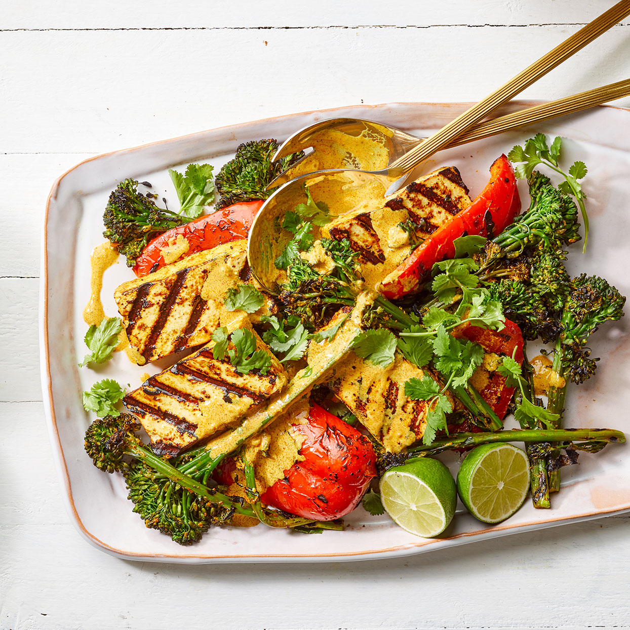 Spiced yogurt does two jobs here as both the marinade and the sauce for this grilled tofu recipe. Source: EatingWell Magazine, May 2020
