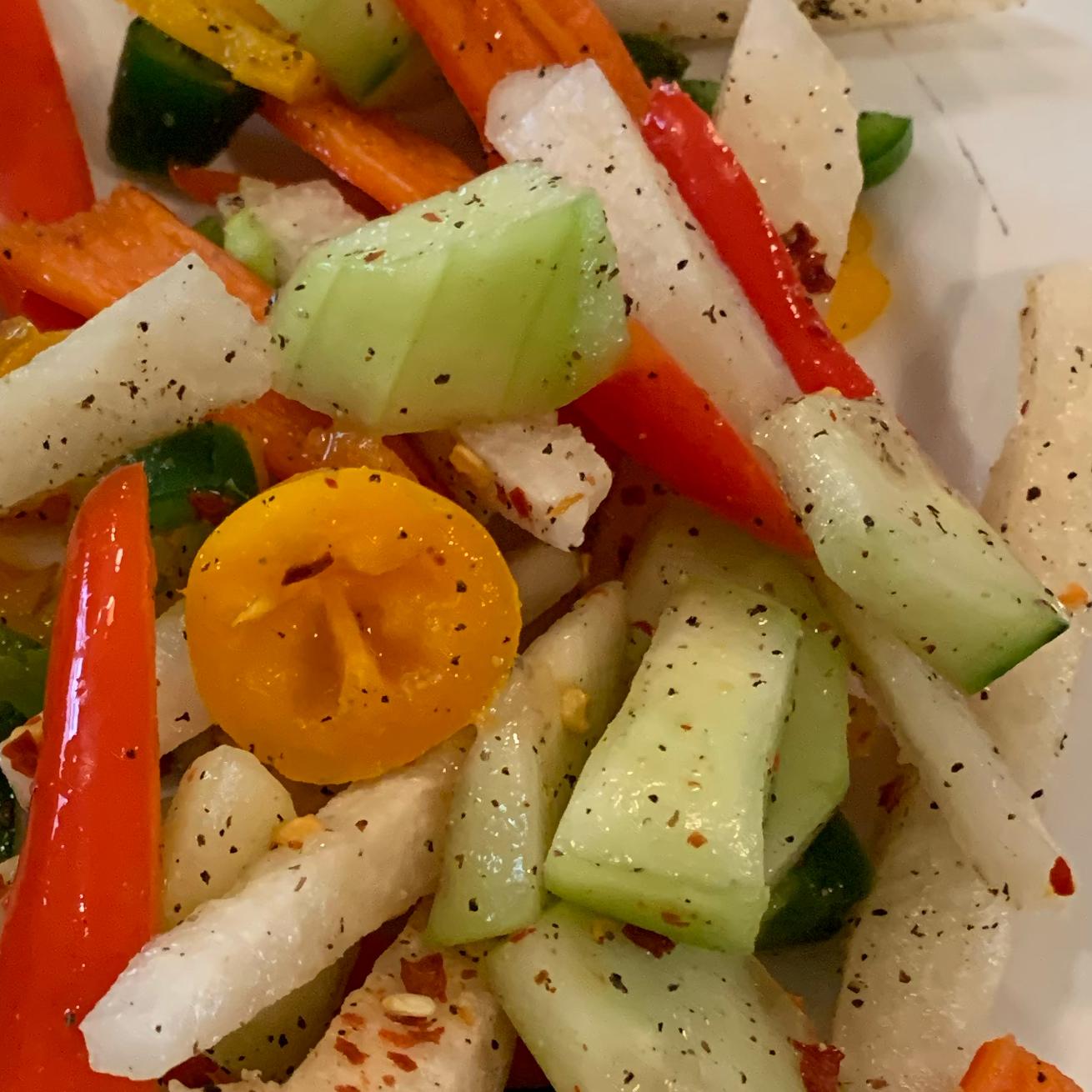 Refreshing Sweet and Spicy Jicama Salad (Vegan)