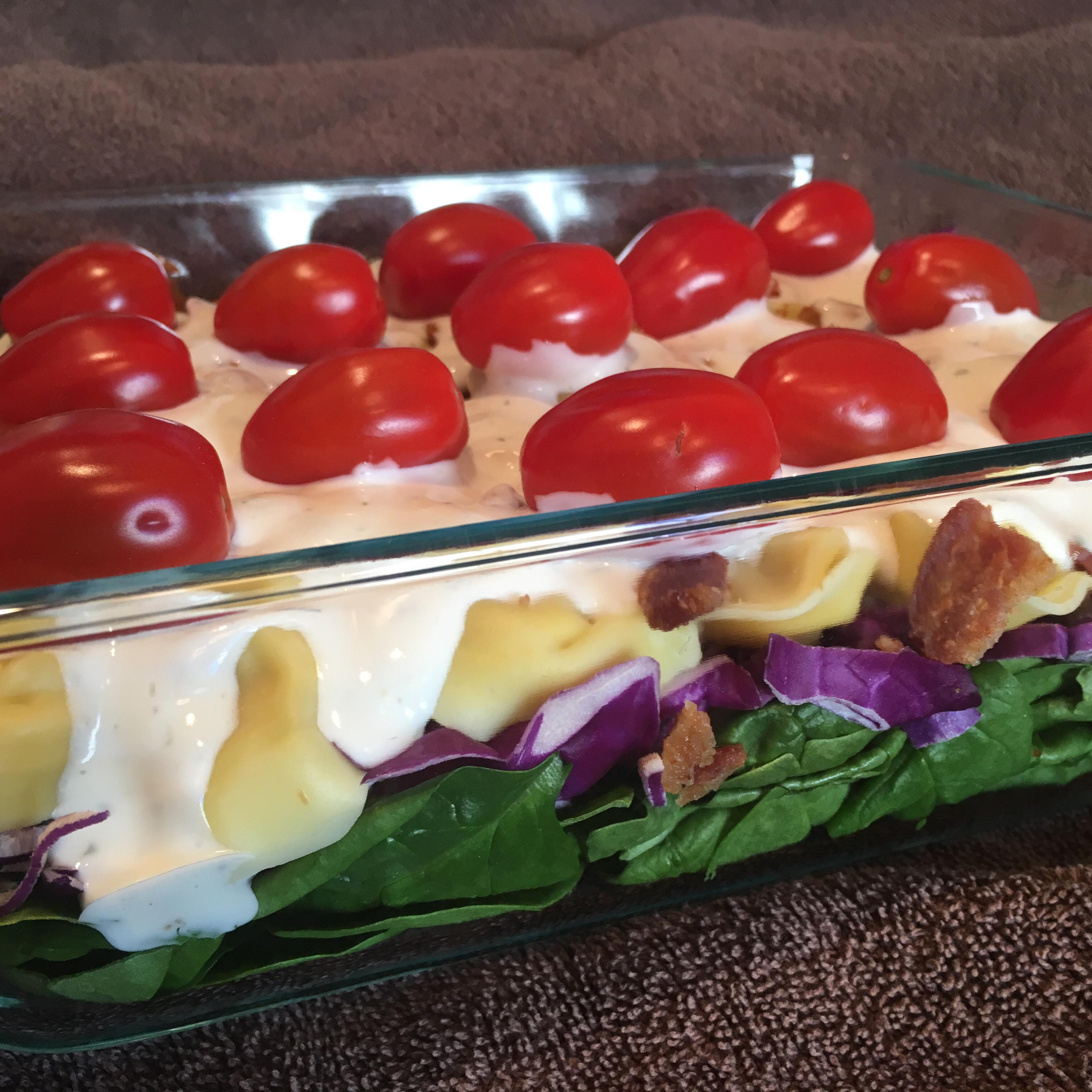 Layered Spinach Tortellini Salad