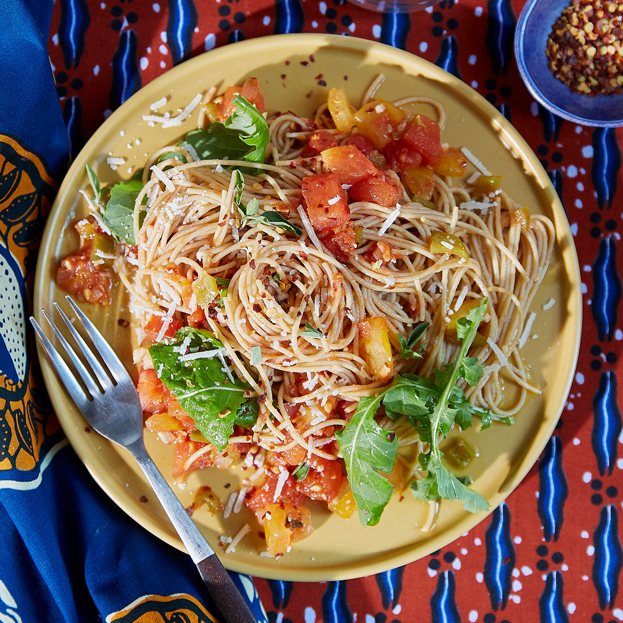 The simplicity of this healthy pasta recipe makes it good family fare. For a touch of heat, mild Anaheim chiles are augmented with crushed red pepper and garlic.Source: EatingWell Magazine, May 2020