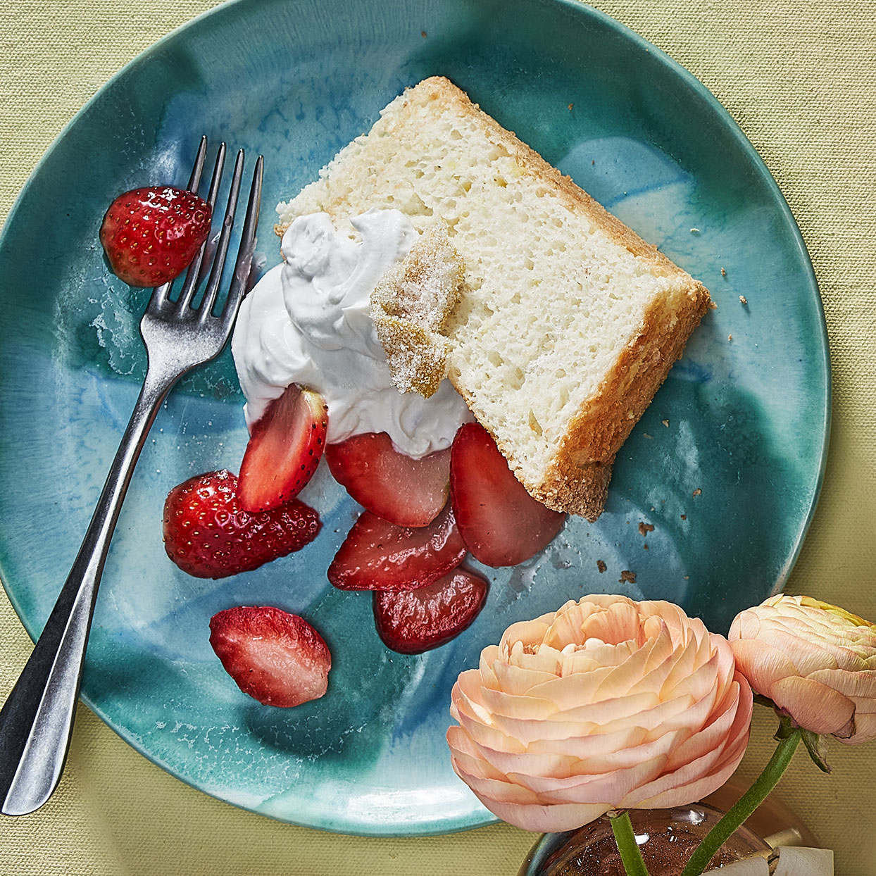 Be sure that your tube pan is free from any grease or flour--the batter for this homemade angel food cake needs to be able to climb the sides of the pan as it bakes to hold its structure. Source: EatingWell Magazine, May 2020
