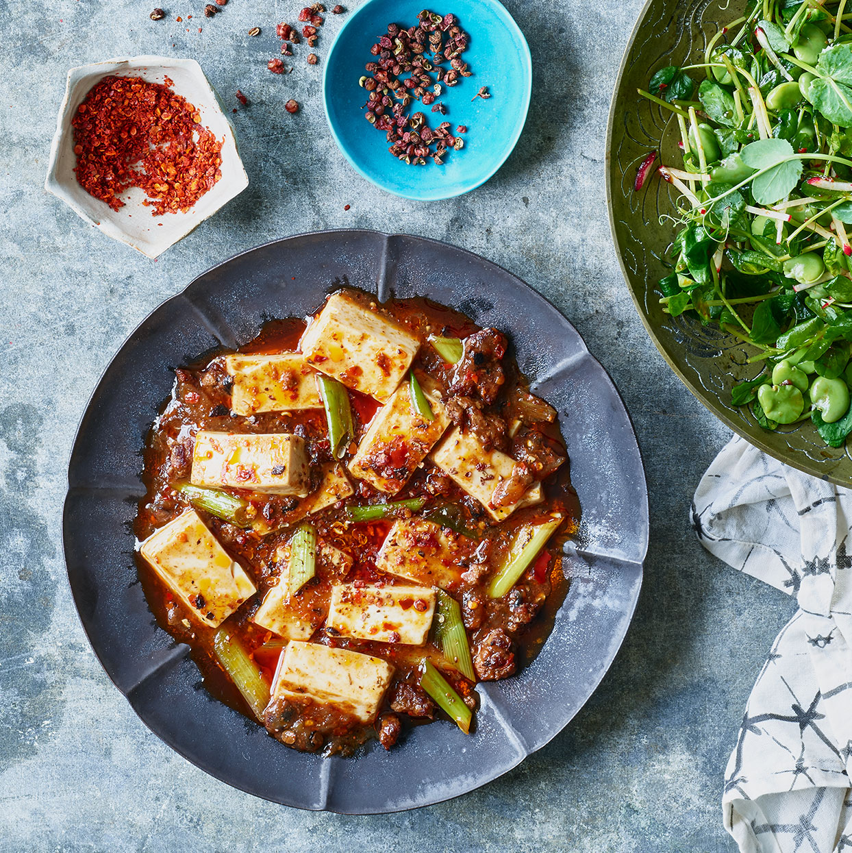 Mapo tofu is extremely popular both in and outside of China, perhaps because it was meant to be adaptable. The type and amount of both tofu and meat is often varied and even the spicy sauce can be tuned to the desired level of heat. Source: EatingWell Magazine, May 2020