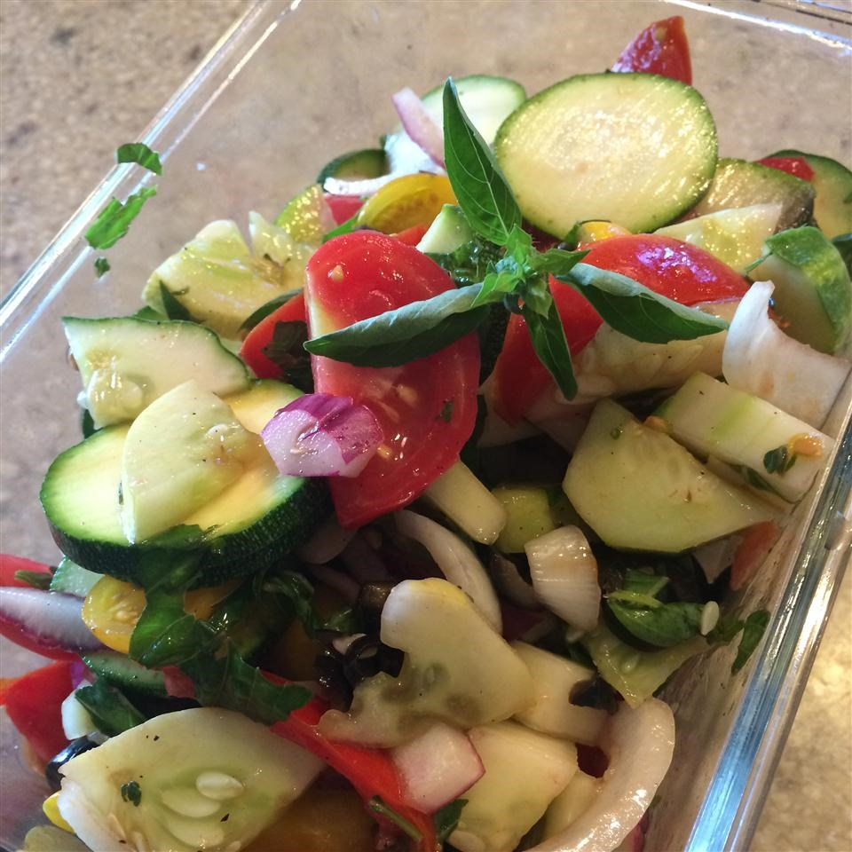 Cucumber Tomato Salad with Zucchini and Black Olives in Lemon Balsamic Vinaigrette Allrecipes Trusted Brands