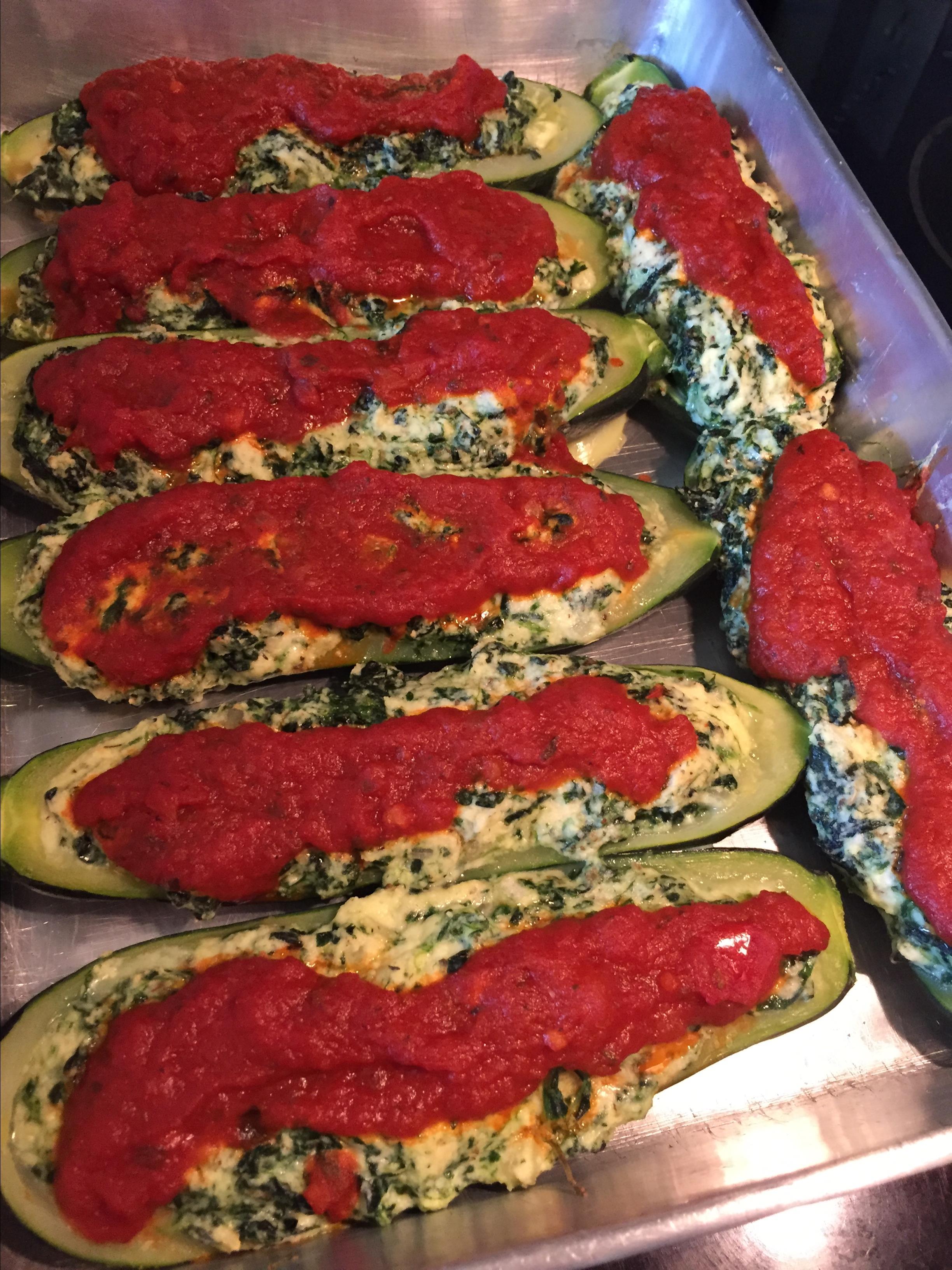 Ricotta Stuffed Zucchini Boats mpown@comcast.net