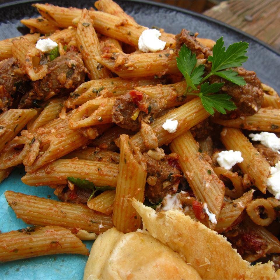 Quick Greek Pasta Salad with Steak