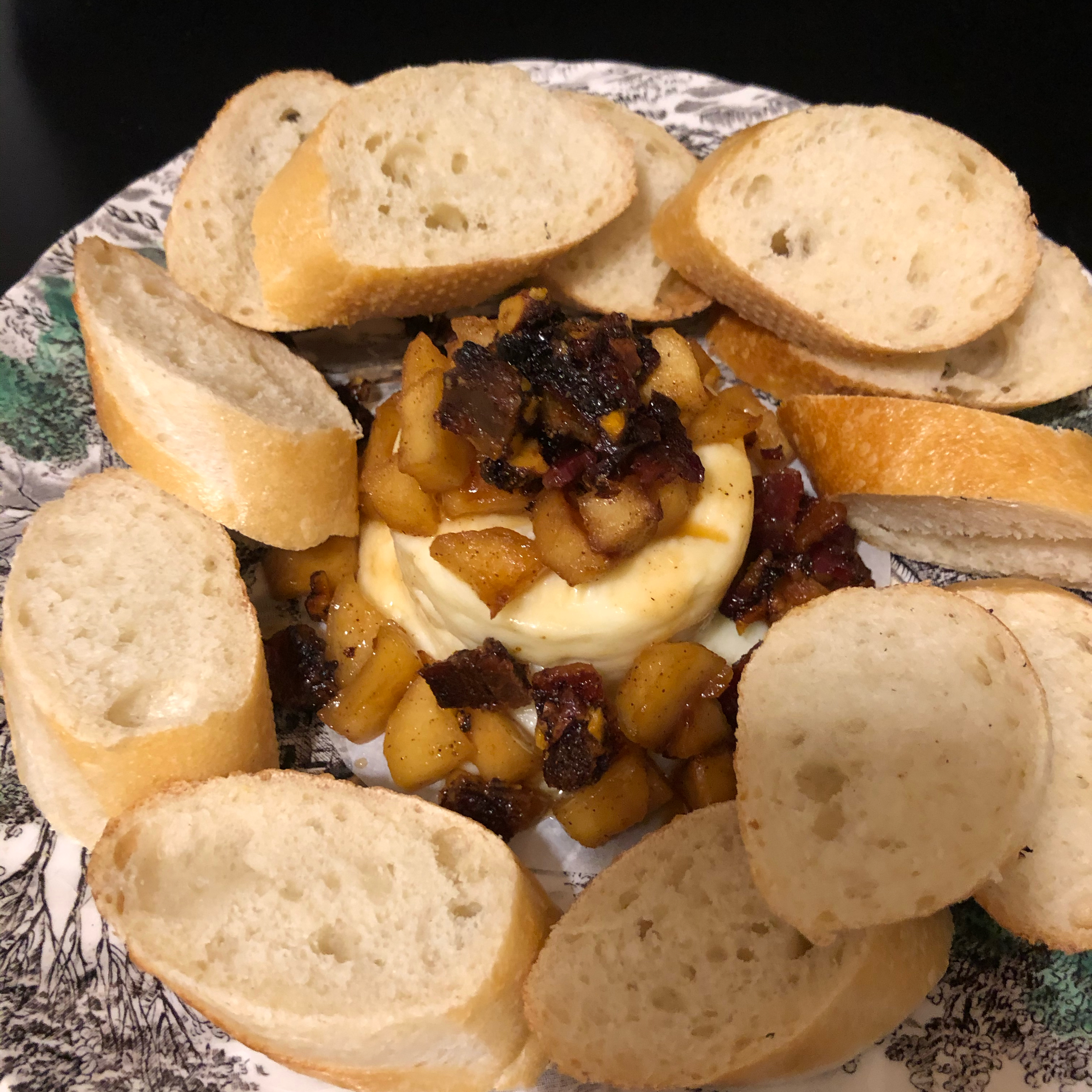 Baked Brie with Maple Caramelized Apples and Spiced Praline Bacon Kristina Keenan