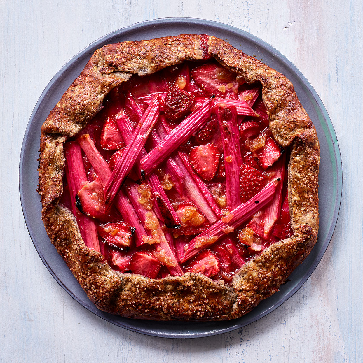 Strawberries and rhubarb are a classic springtime combo, but you could use cherries or apricots if you prefer. Baking this pretty galette on a heated surface like a baking stone creates a crisp, sturdy bottom. Source: EatingWell Magazine, May 2020