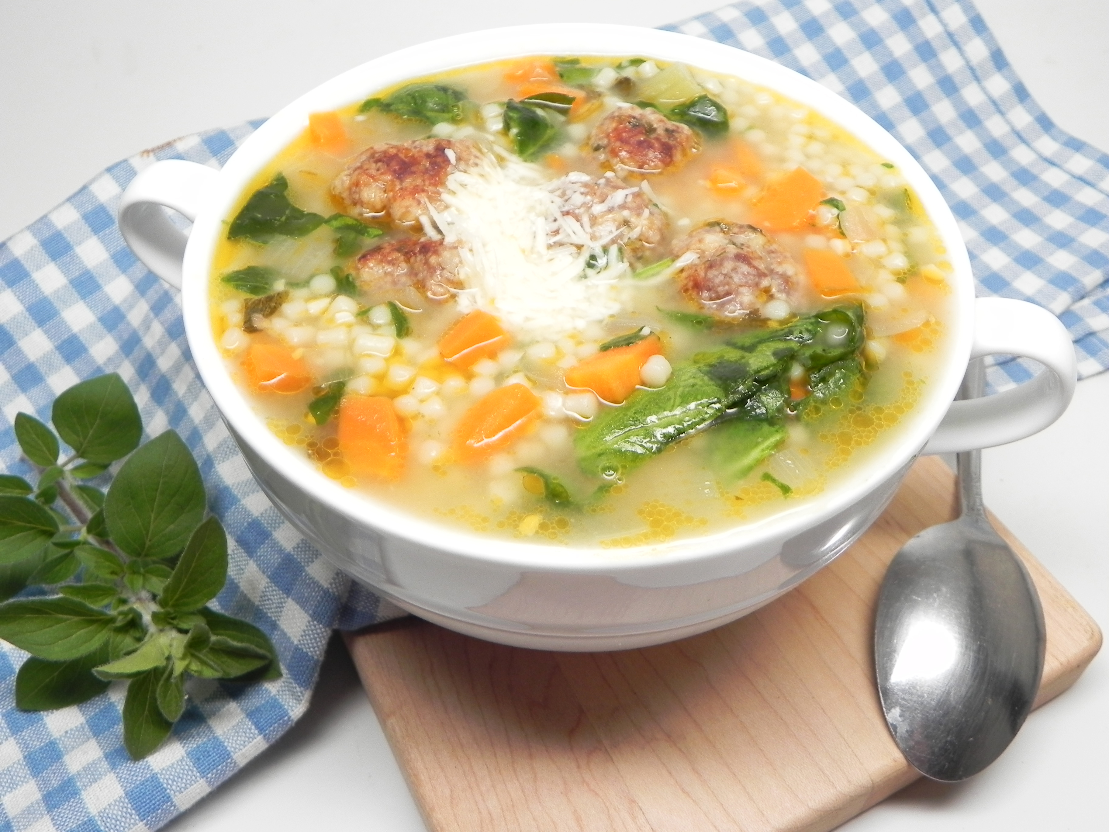 Italian Wedding Soup with Venison Meatballs