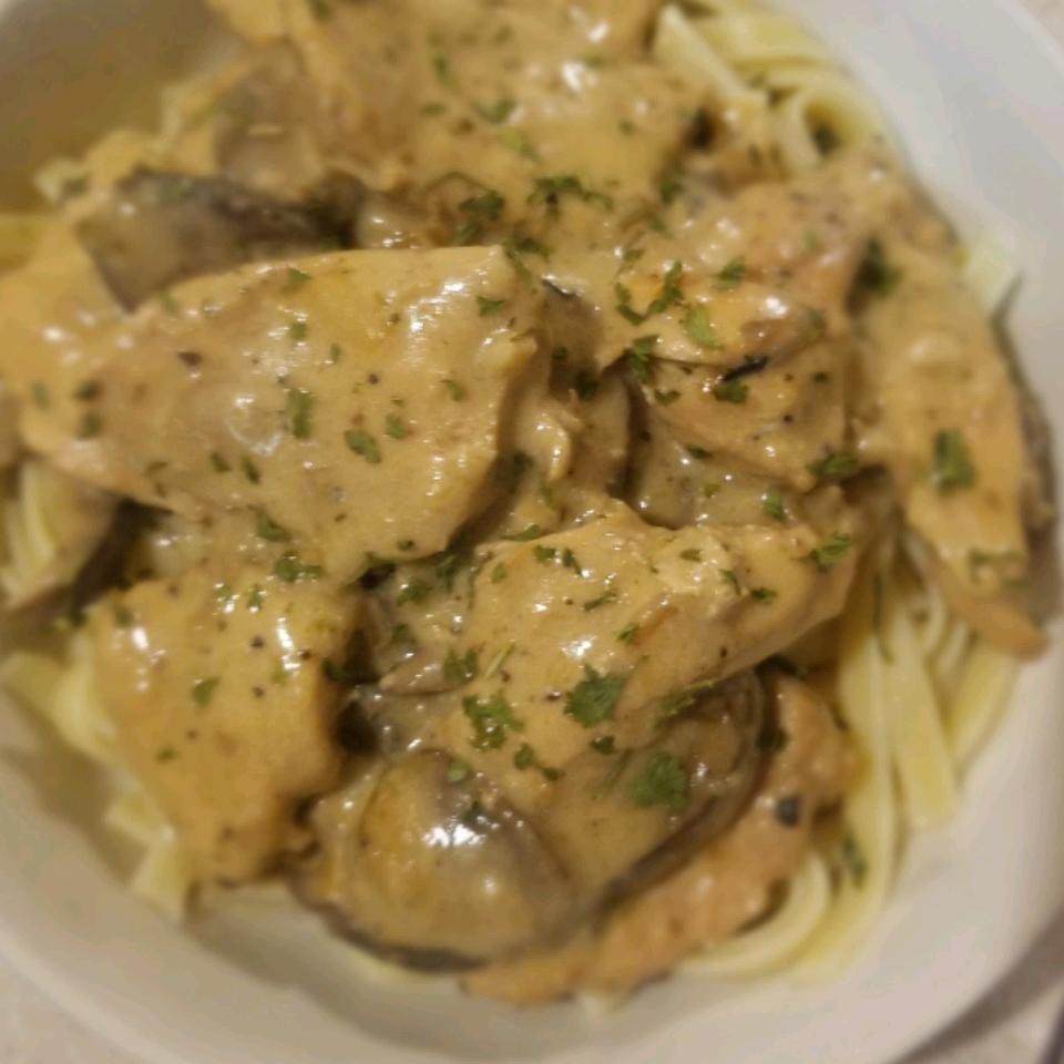 Chicken and Wild Mushrooms with White Wine and Cream