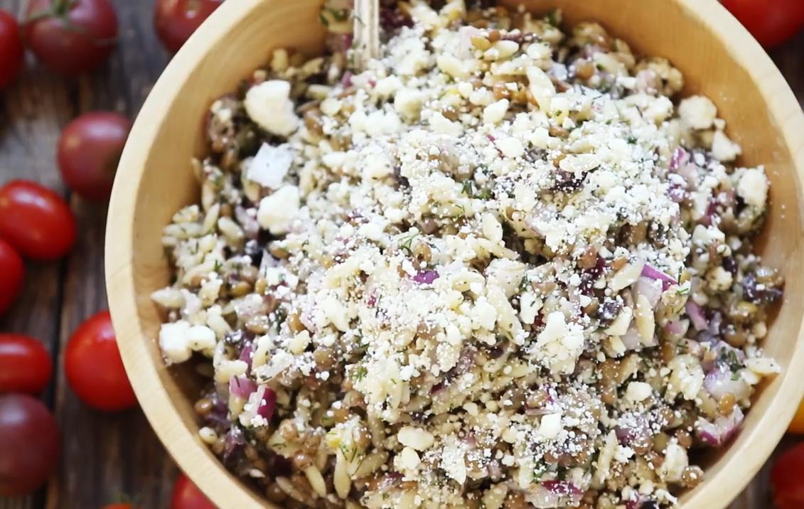 Minty Orzo Lentil and Feta Salad