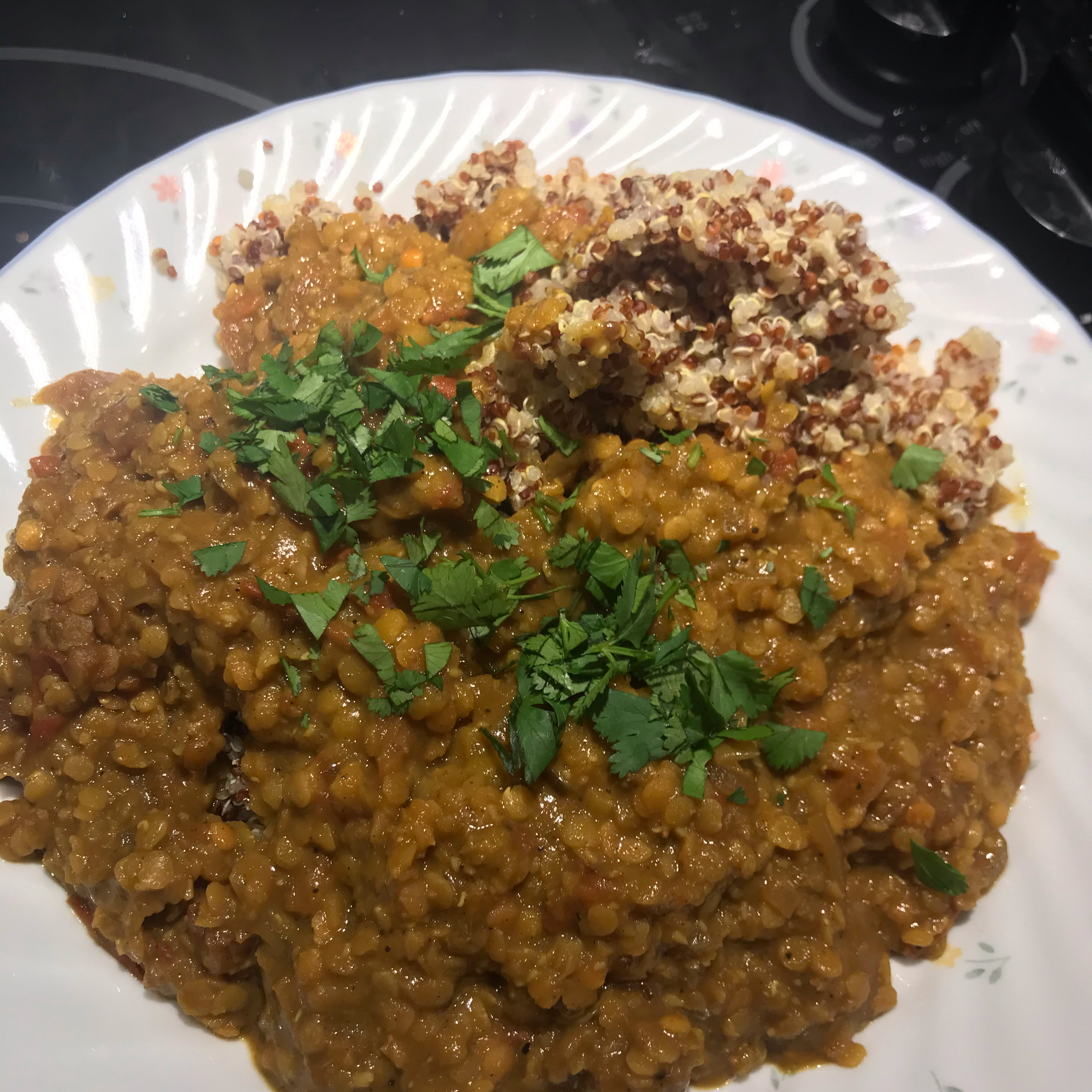 Coconut-Curry Lentil Stew Served over Quinoa