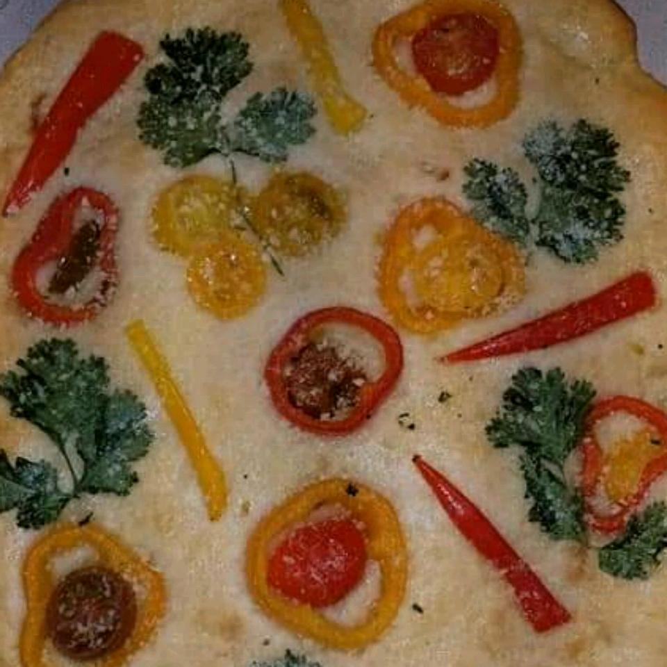 Decorated Focaccia Bread Rosa Naccarato