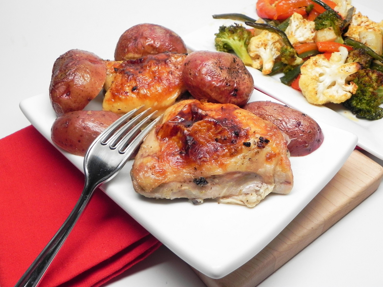 Greek Lemon-Garlic Chicken Thighs and Potatoes