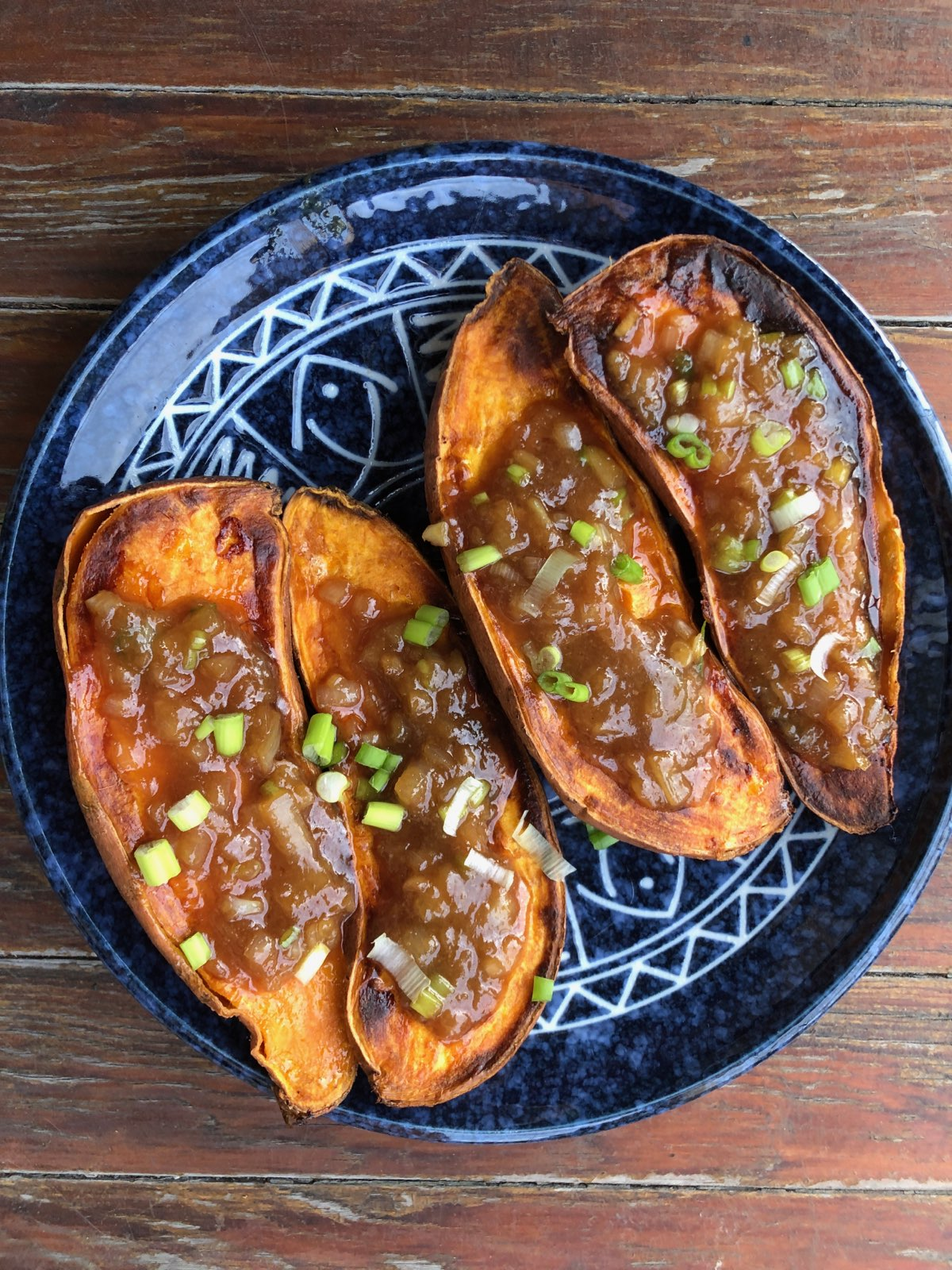 Roasted Sweet Potatoes with Sweet Miso-Scallion Butter