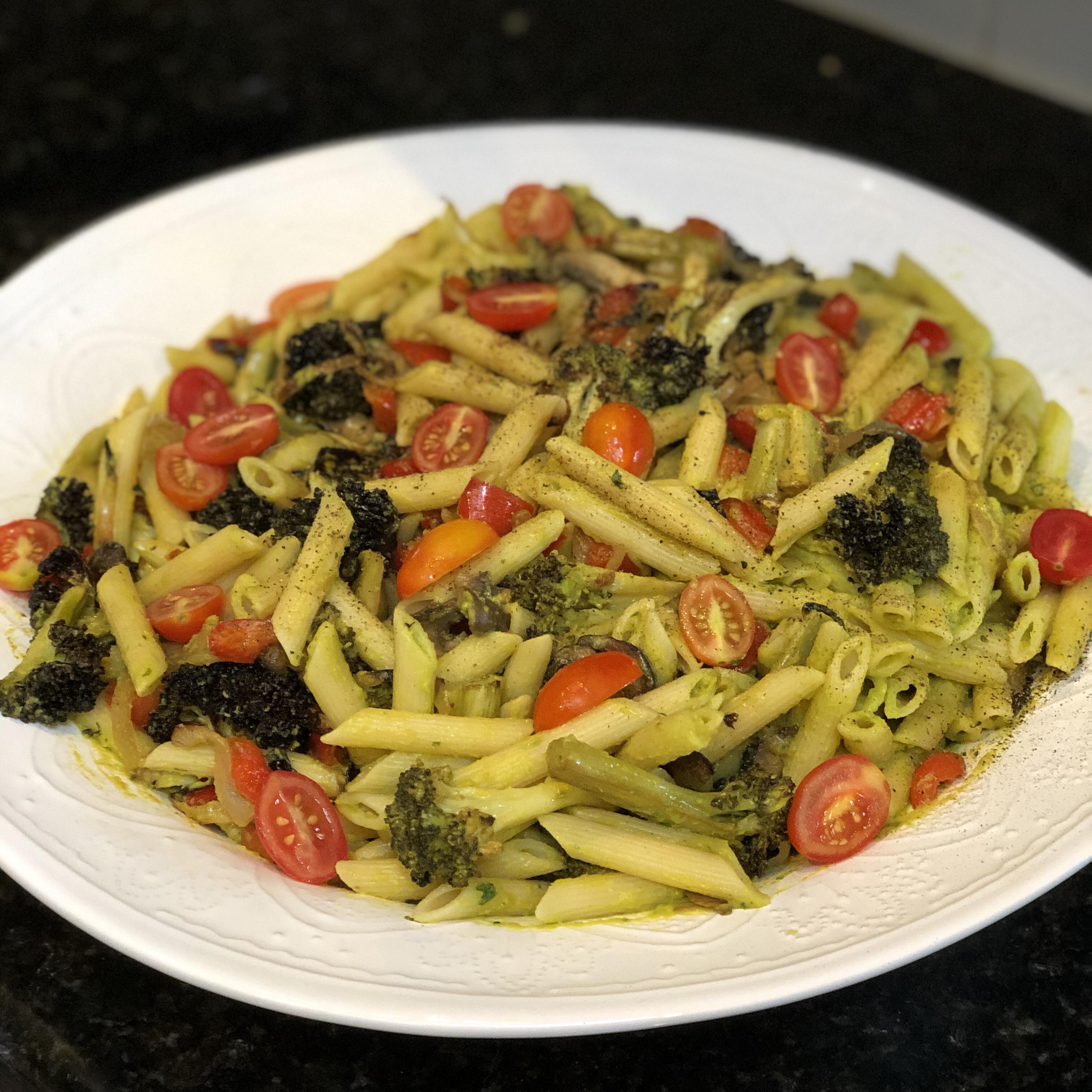 Vegan Avocado Pasta with Blackened Vegetables ShellyGirl