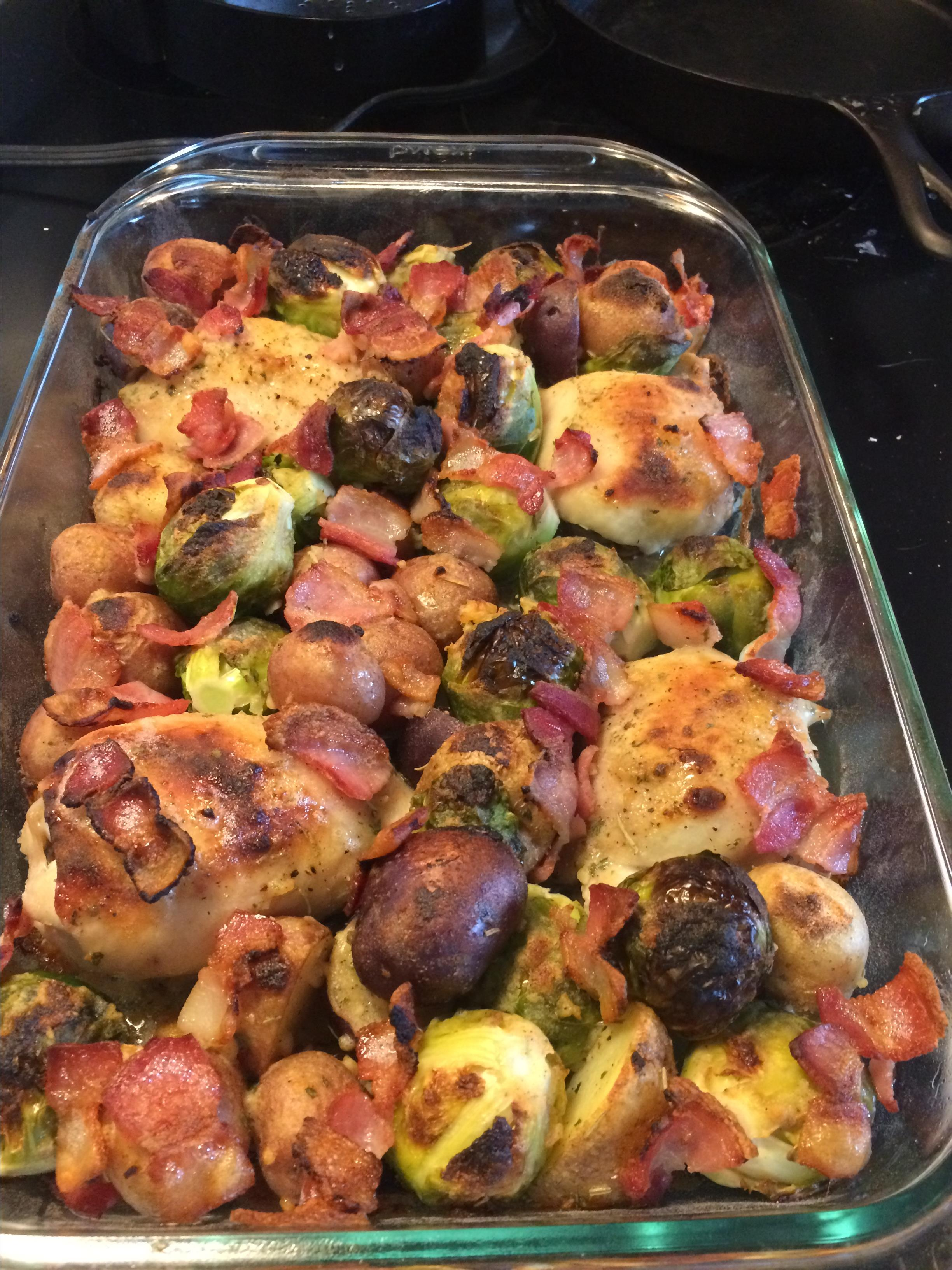 Ranch-Baked Chicken Thighs with Bacon, Brussels Sprouts, and Potatoes Stewart-Debbie Greer