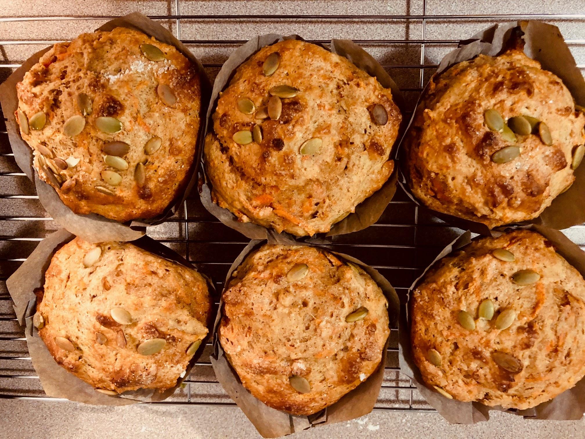 Jumbo Carrot Protein Muffins