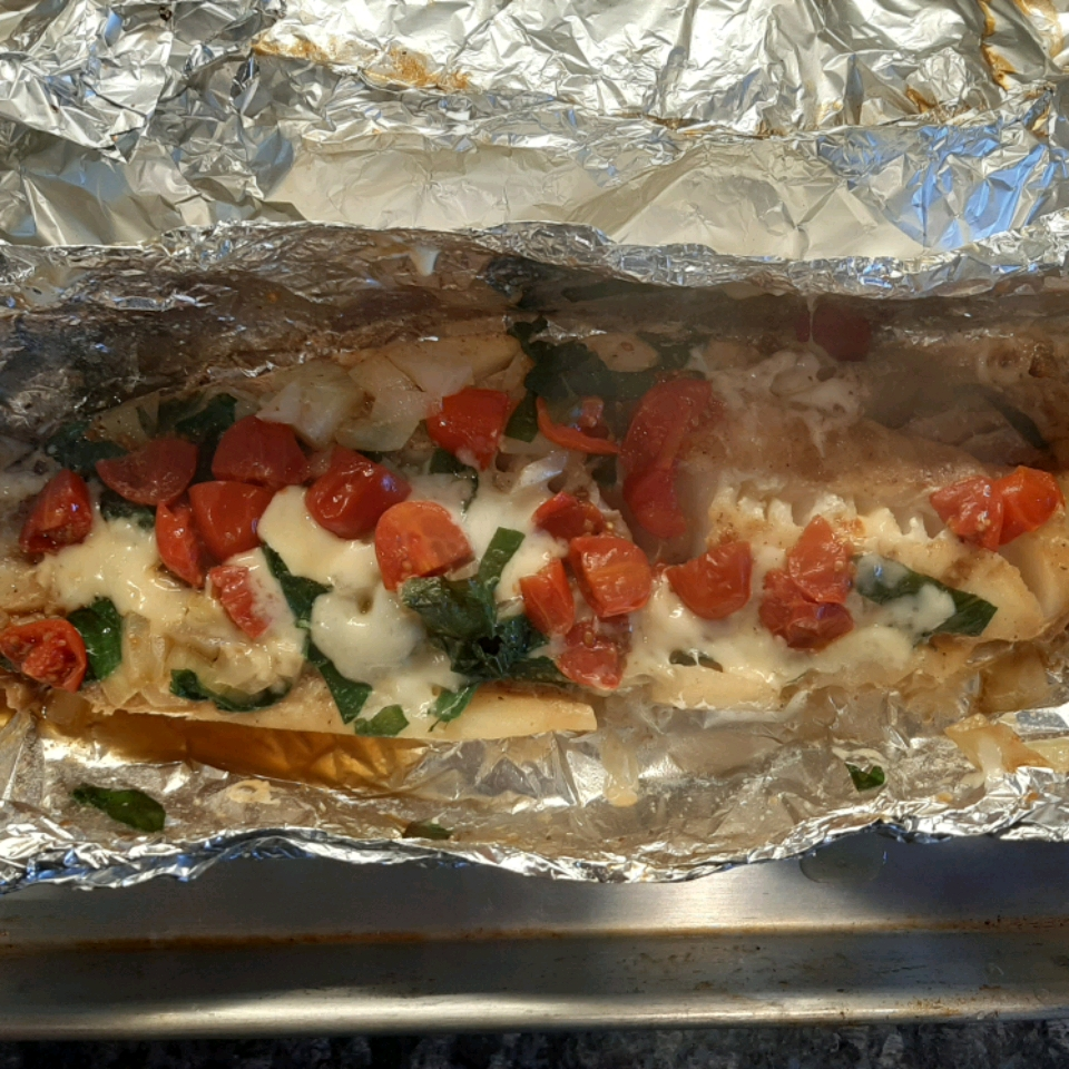 Grilled Cod with Spinach and Tomatoes