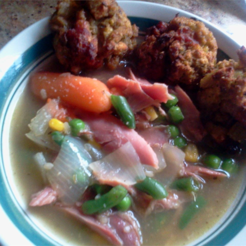 Turkey Soup with Dressing Dumplings