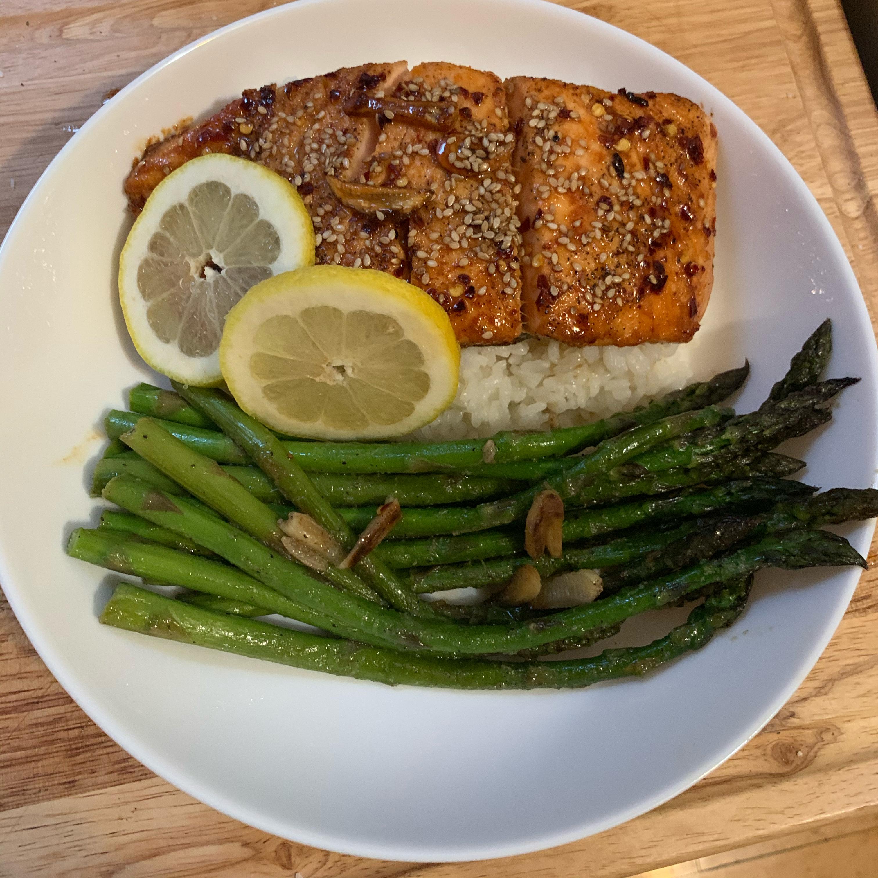 Soy-Honey Glazed Salmon with Asparagus