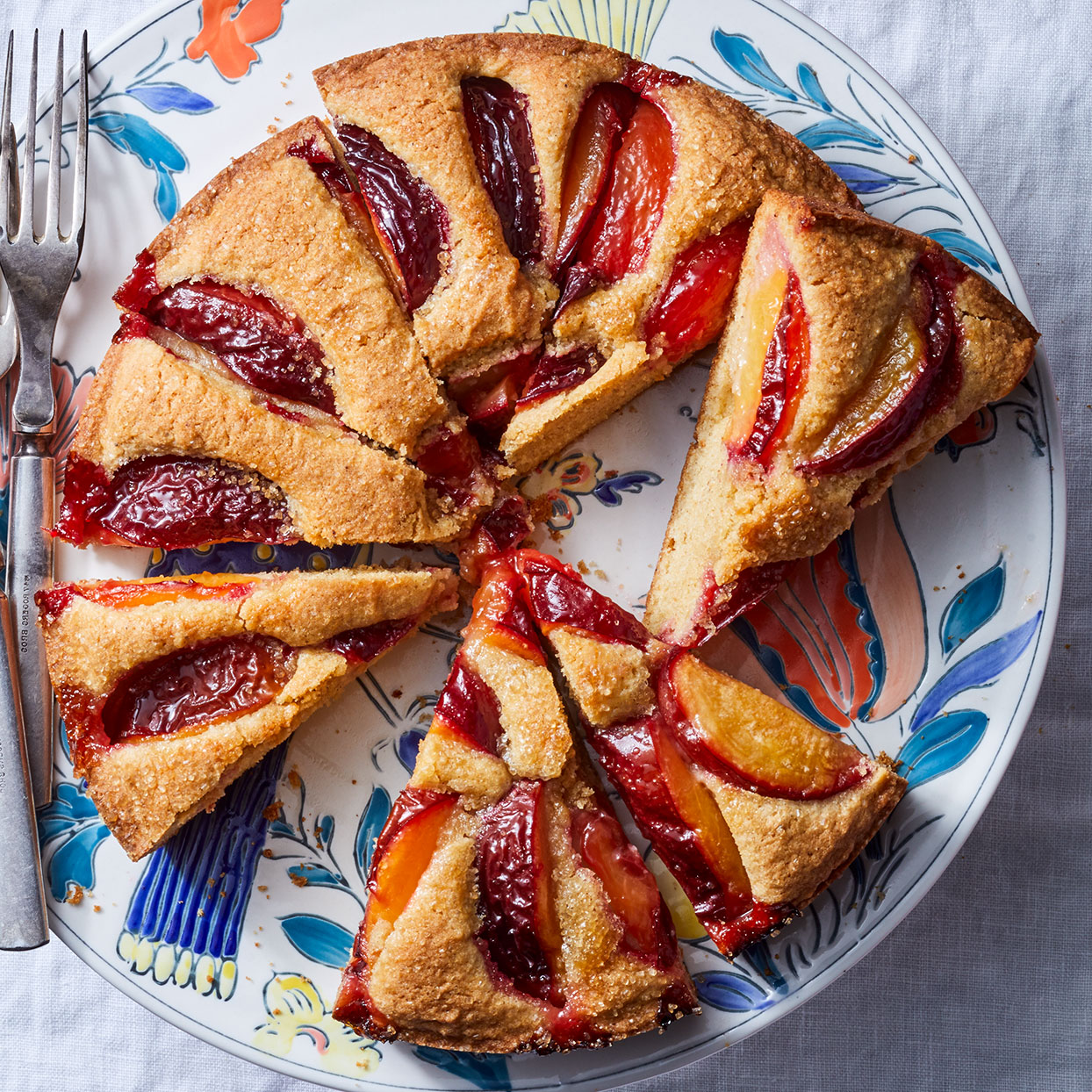 This fruit-topped cake got its name because of the way the batter buckles as it bakes. We omitted the traditional crumb topping to let this plum cake shine.