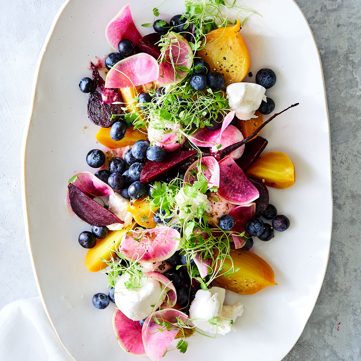 Chef Scott Graden of New Scenic Café outside Duluth, Minnesota, pickles beets to use in the winter, but in summer he cooks them up fresh in preparations like this blueberry salad. Source: EatingWell Magazine, June 2020