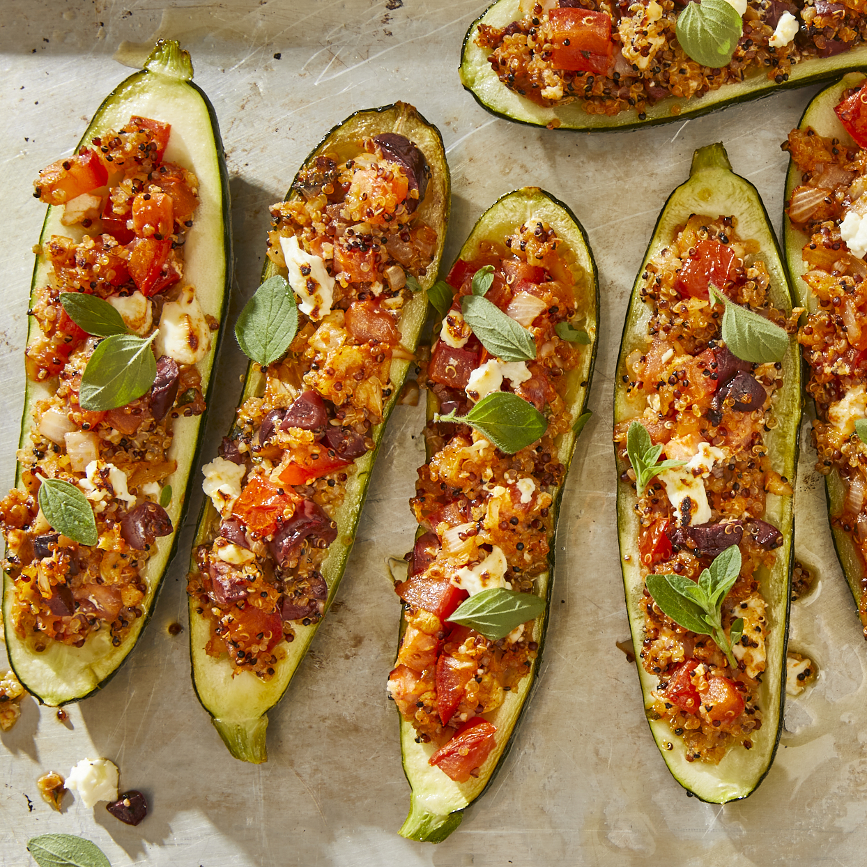 These vegetarian stuffed zucchinis are perfectly tender and fresh with the flavors of the Mediterranean. Olives and feta cheese deliver a nice salty bite, while quinoa adds a nutty flavor, along with protein and fiber. Source: EatingWell.com, May 2020