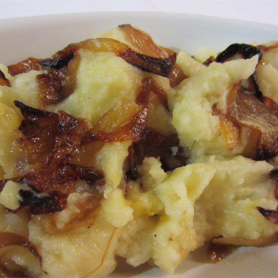 Mashed Potato, Rutabaga, And Parsnip Casserole With Caramelized Onions pelicangal