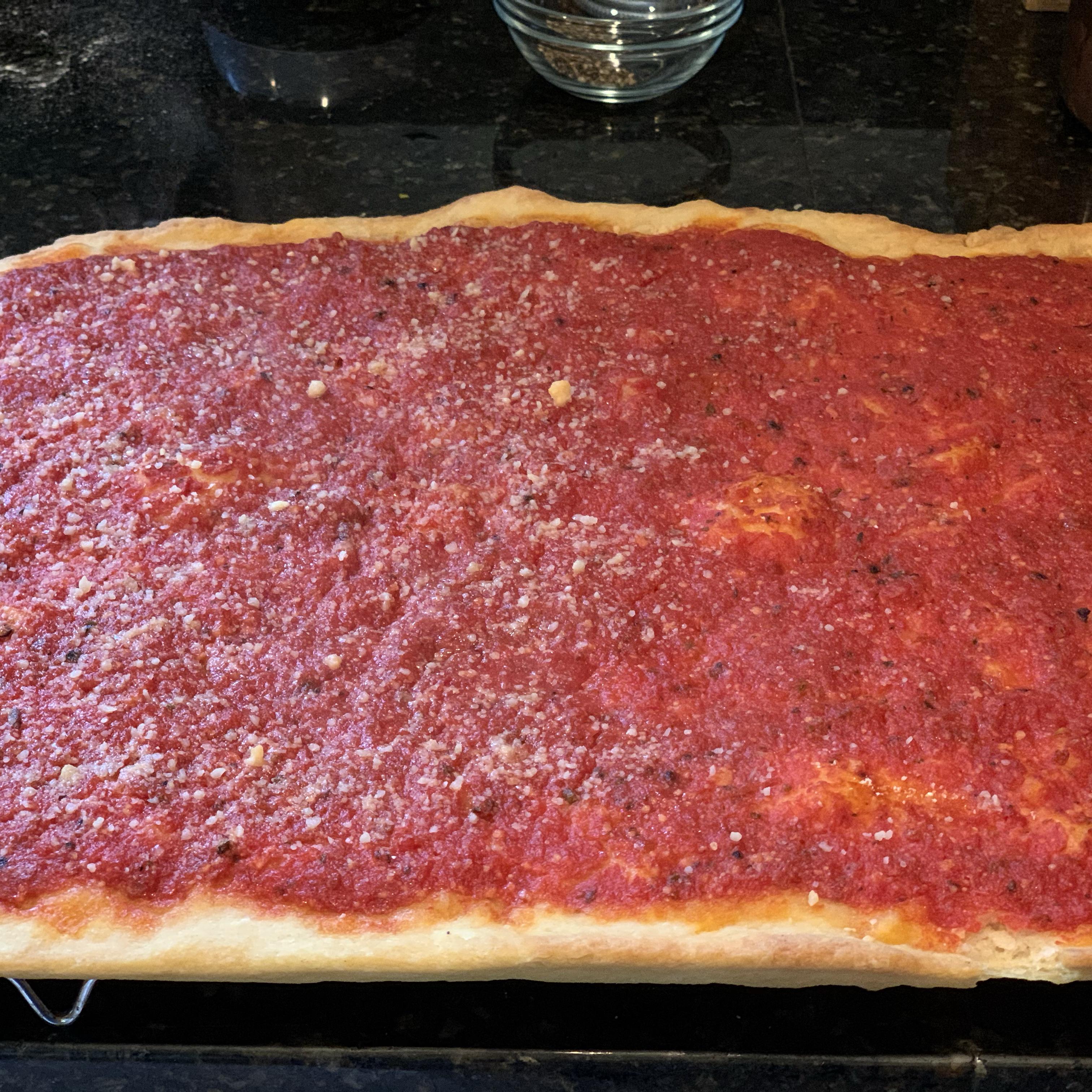 Rhode Island-Style Pizza Strips aka Bakery Pizza