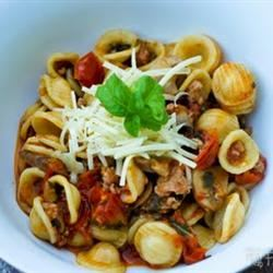 Orecchiette with Fresh Tomatoes and Sausage Staci