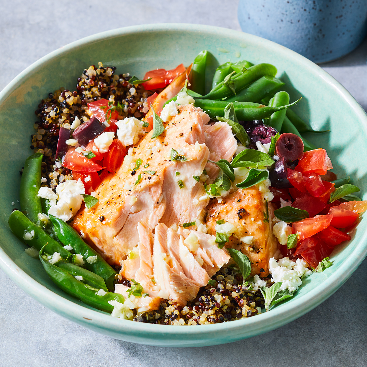 This salmon quinoa bowl with green beans is a meal that keeps on giving. Pack up any leftovers for a next-day lunch, or make the entire recipe ahead and pack it into individual serving containers for ready-to-go meals. Source: Diabetic Living Magazine, Summer 2020