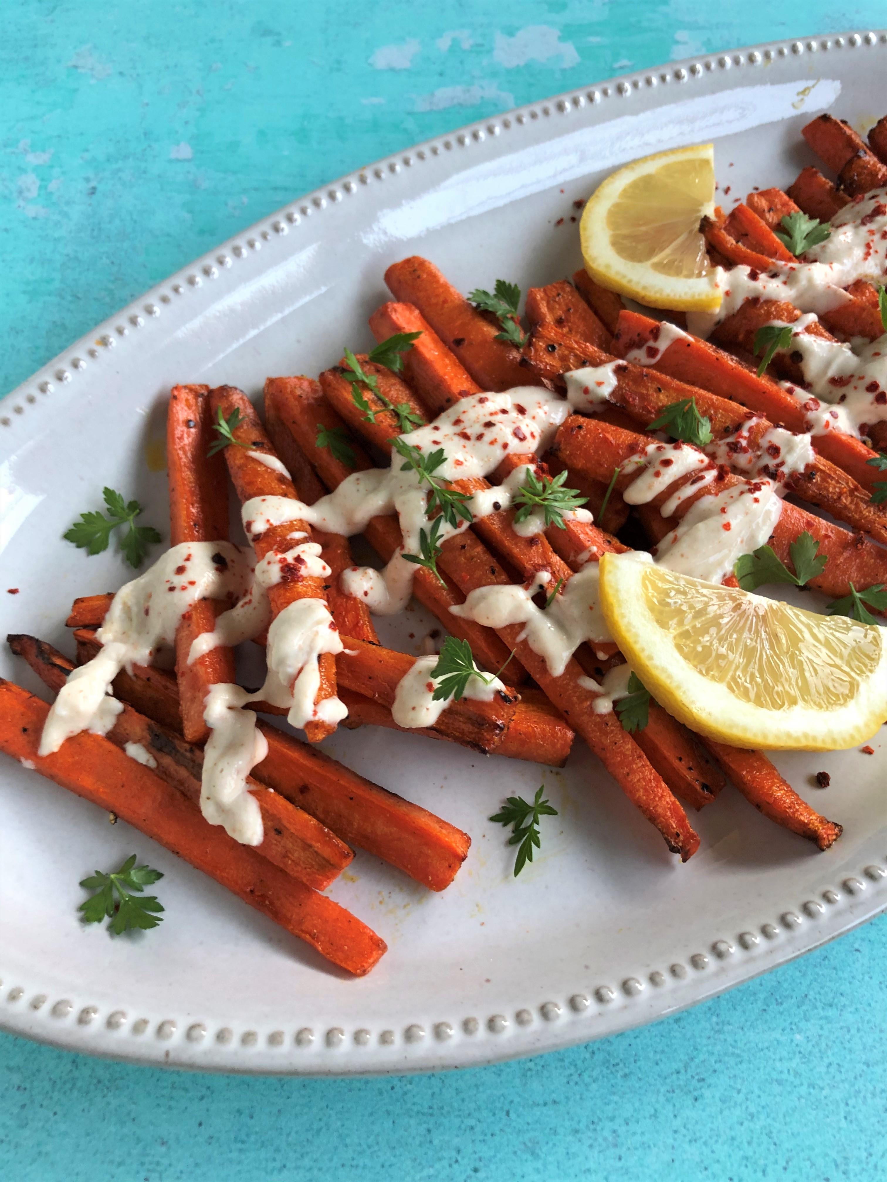 Air-Fried Carrots with Tahini-Lemon Sauce