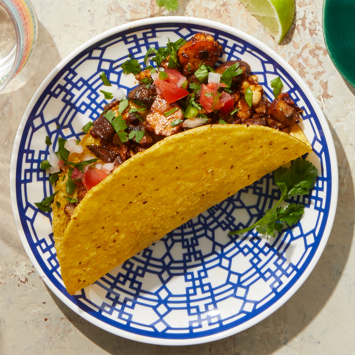 Tempeh is a vegetarian protein that crumbles easily; here it stands in for ground meat in this tempeh taco recipe.Source: Diabetic Living Magazine, Summer 2020