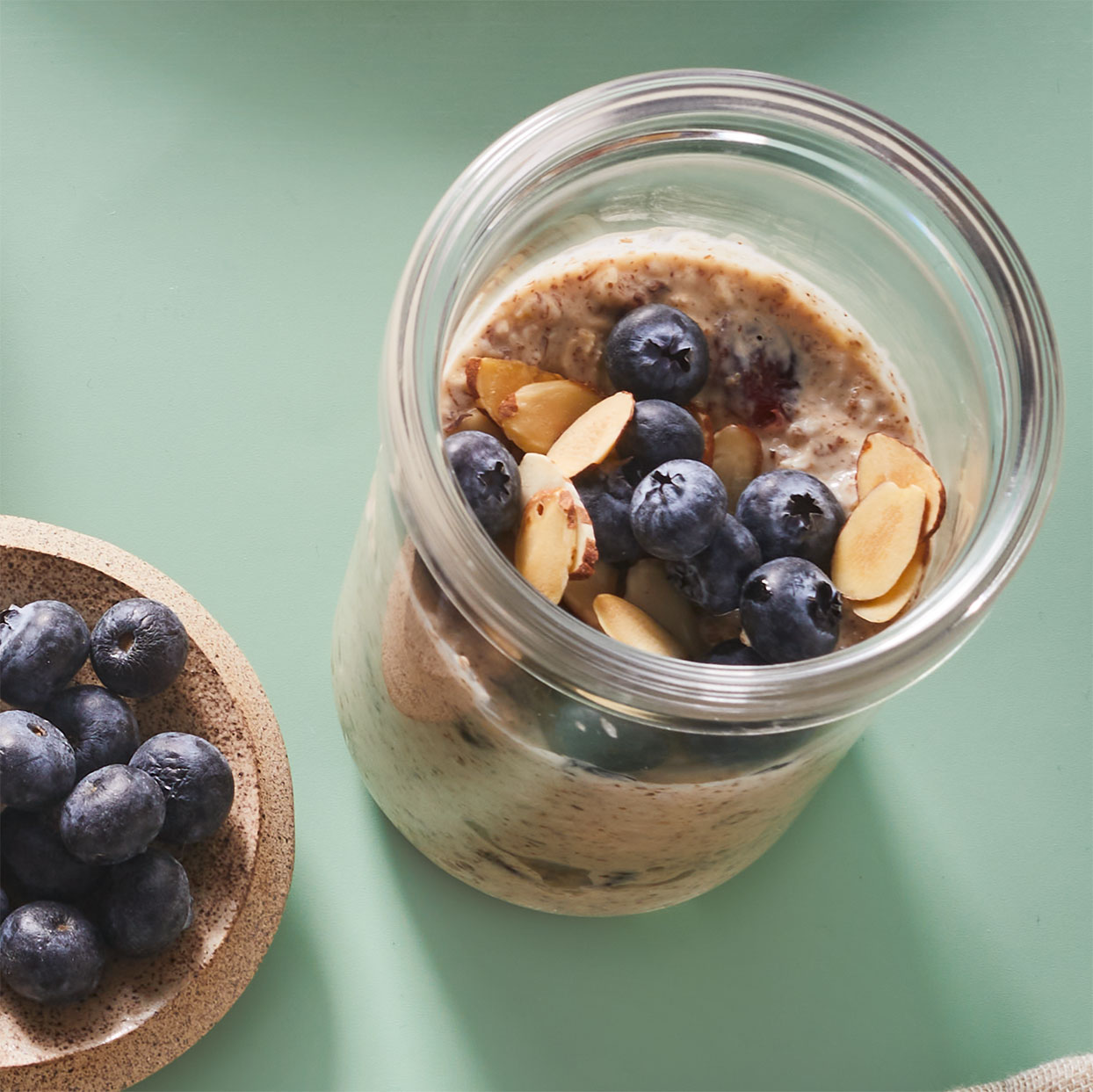 Overnight oats can simplify your morning routine while still providing a hearty, nutritious breakfast. You can prepare this in a 2-cup mason jar or other to-go container if you usually transport your breakfast. Source: Diabetic Living Magazine, Summer 2020