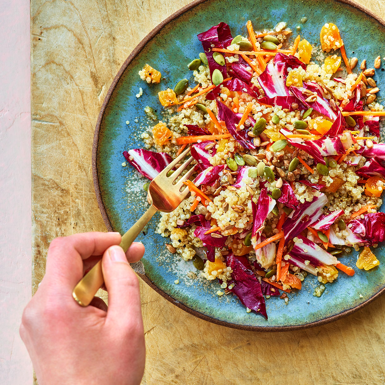 Quinoa Salad with Radicchio, Carrots & Dried Apricots