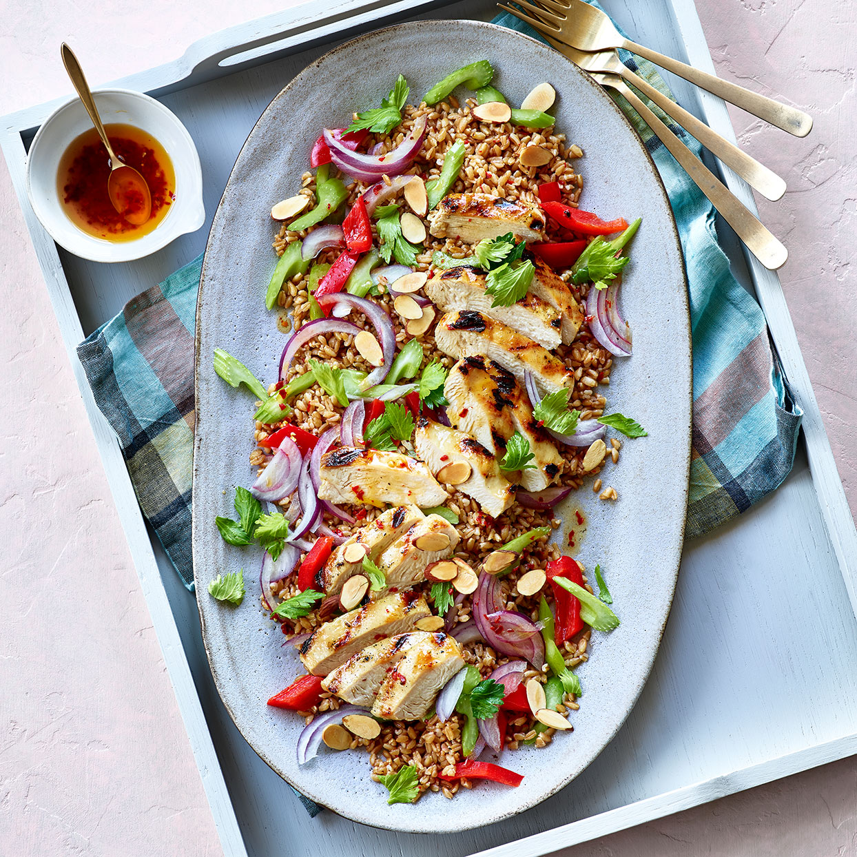 Farro Salad with Grilled Chicken