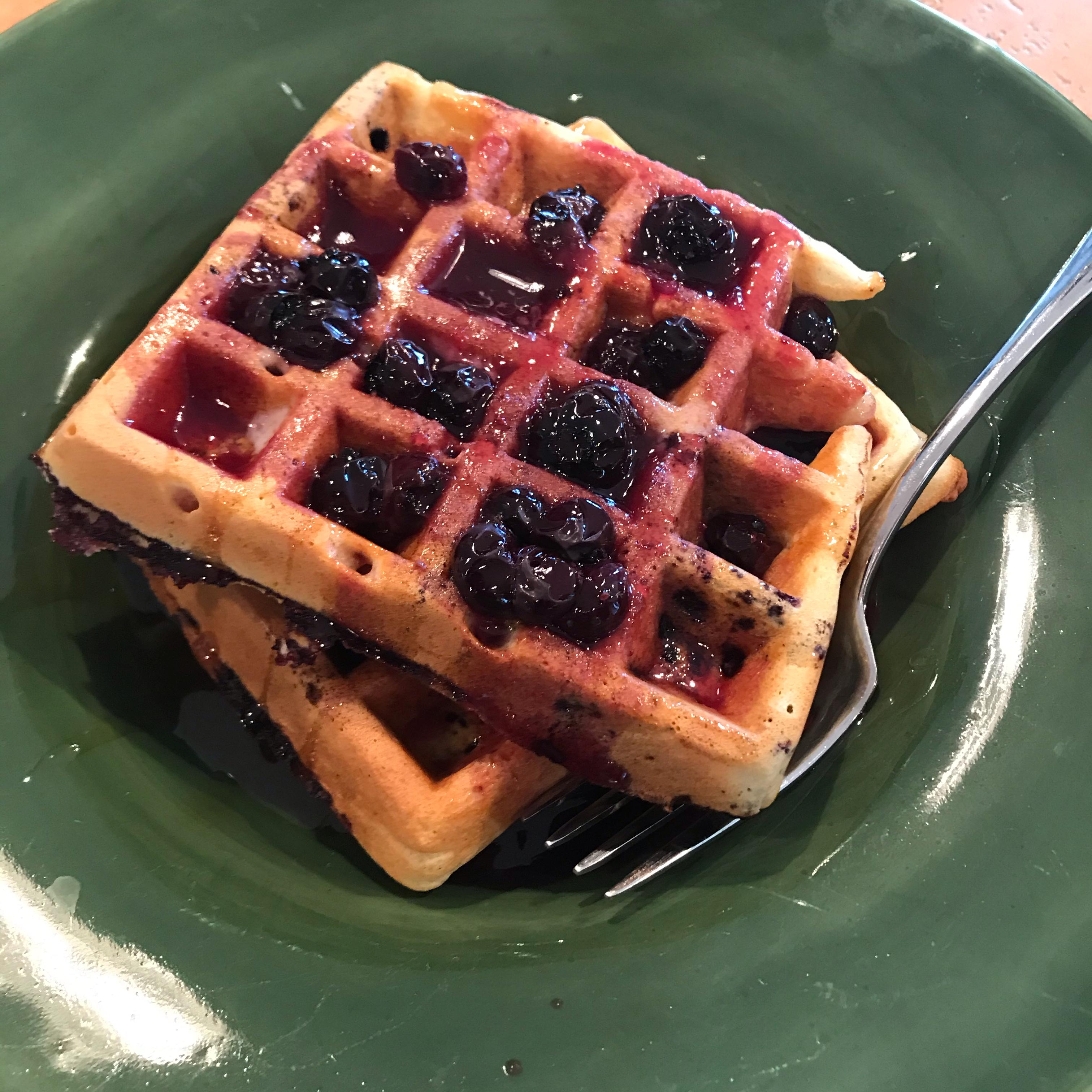 Blueberry Waffles with Fast Blueberry Sauce Vonda