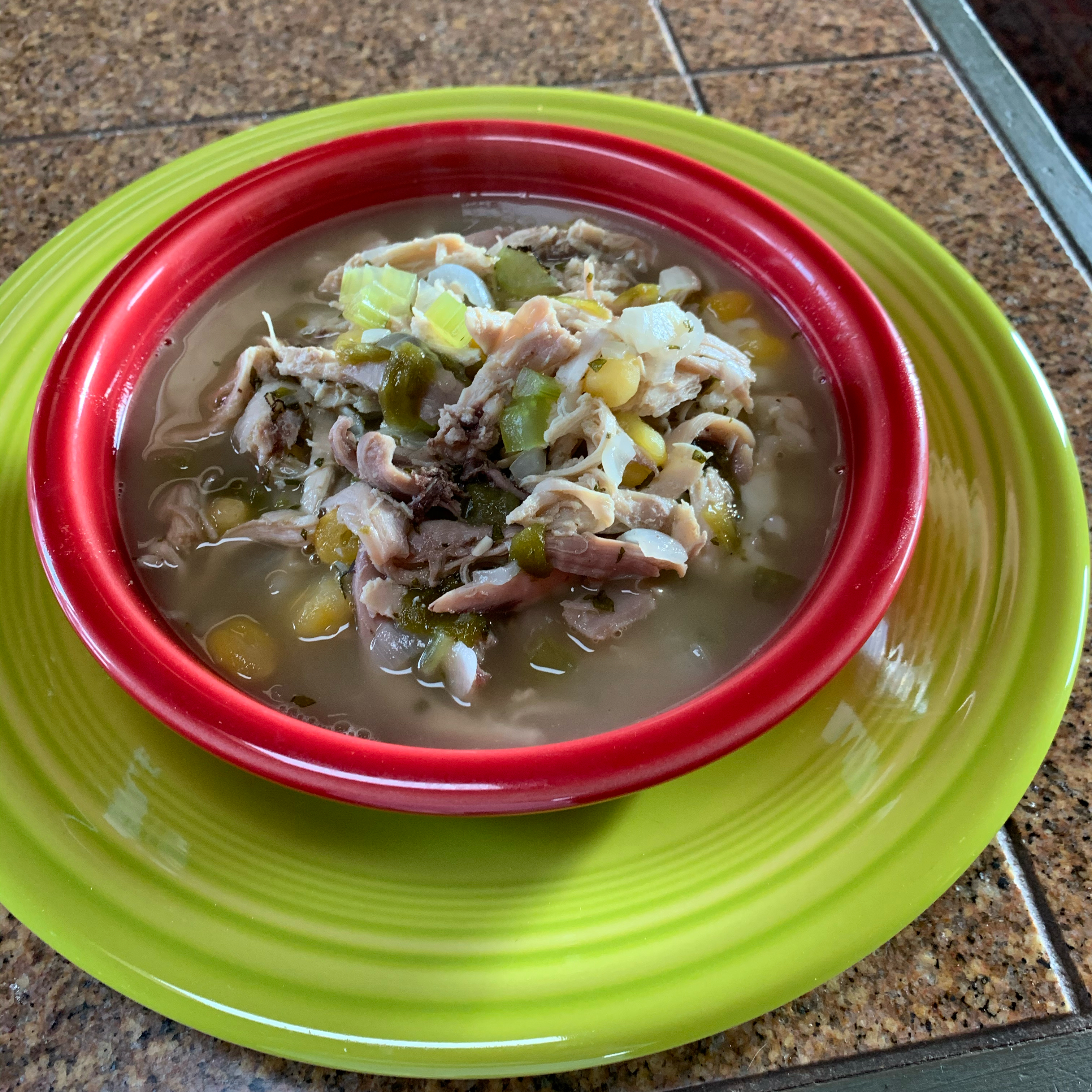 Green Chile Chicken and Rice Soup herbgardener