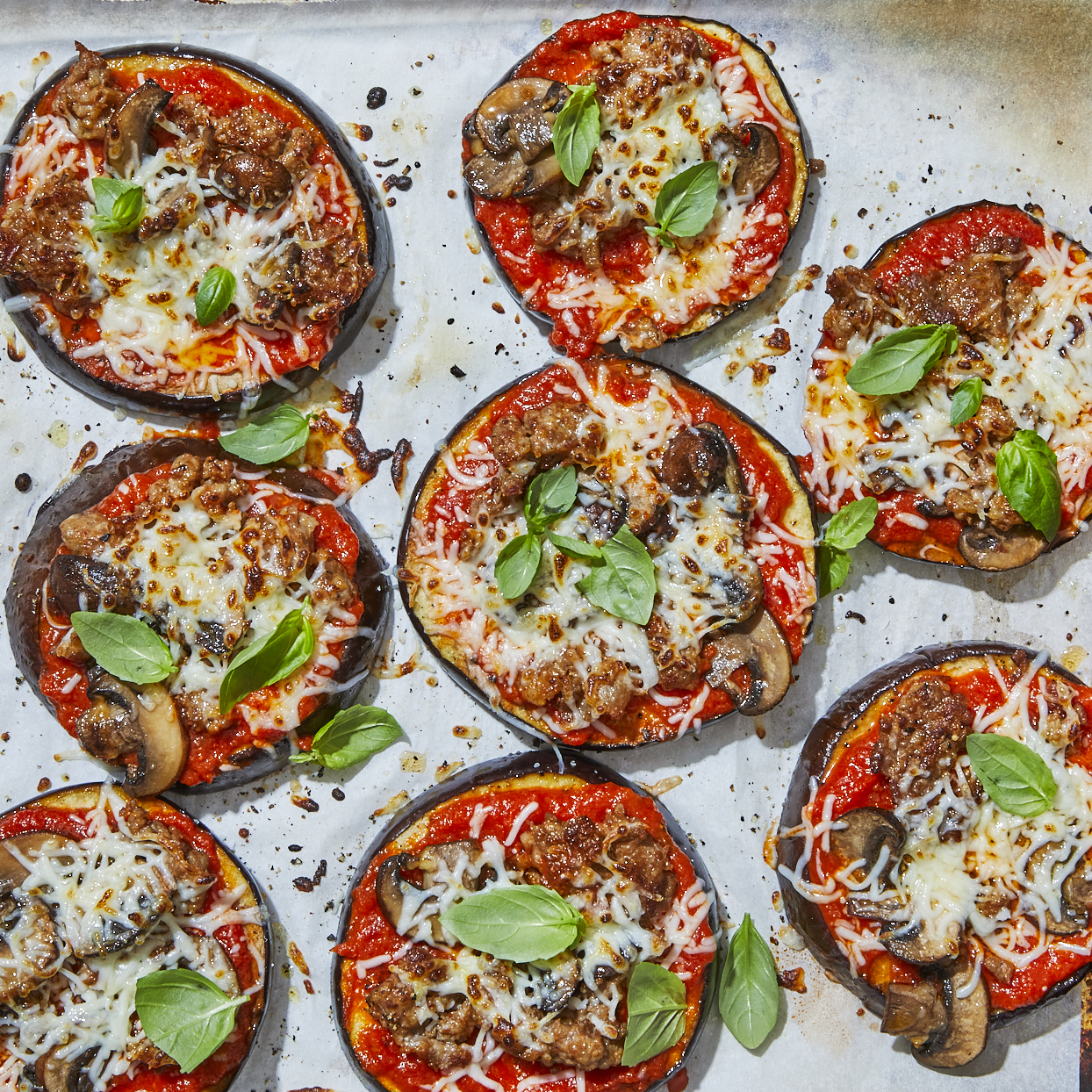 These eggplant pizzas have all the classic flavors of a real pizza without all the carbs. Opt for spicy Italian sausage if you like the heat! Serve these mini pizzas with a green salad on the side to complete the meal. Source: EatingWell.com, May 2020