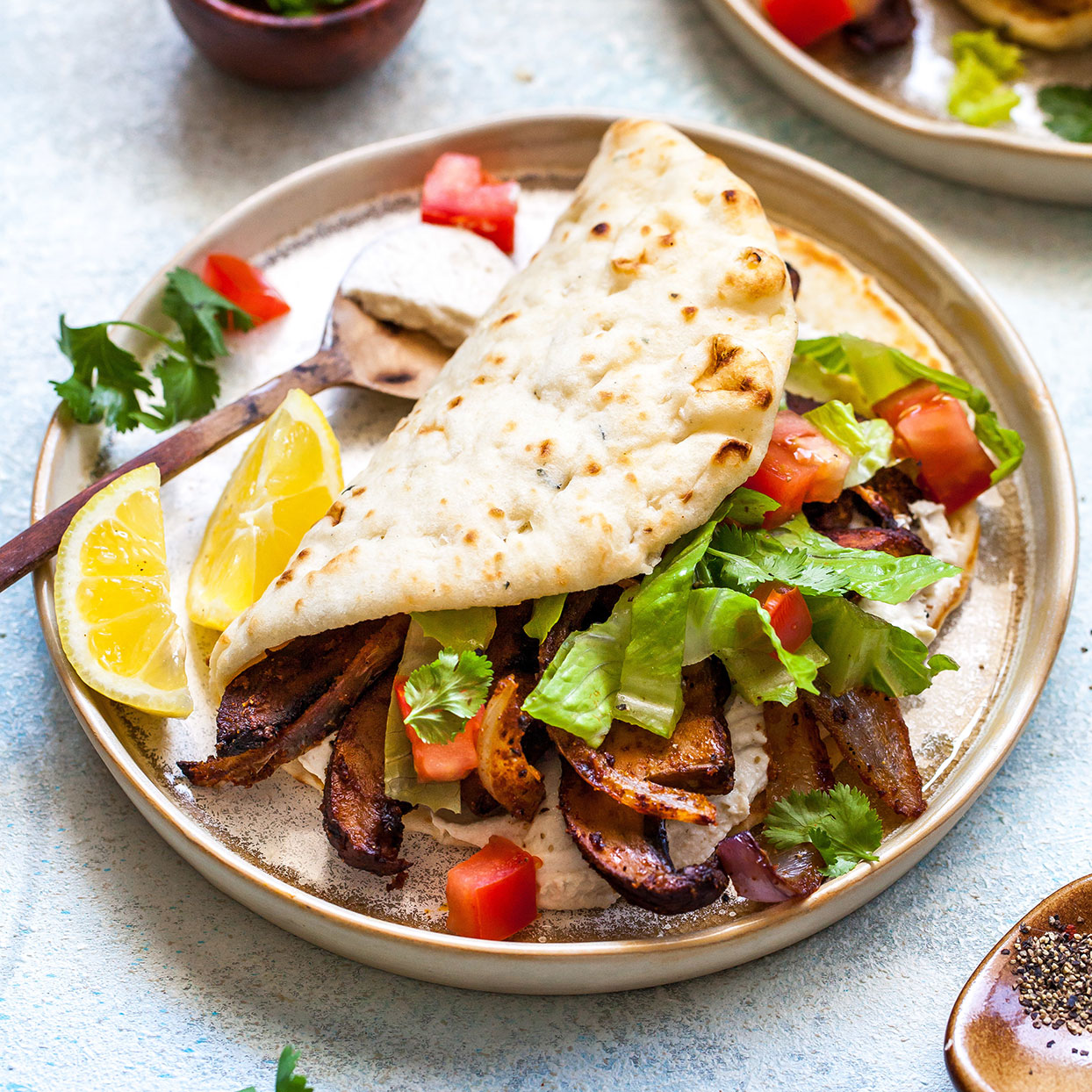 The bold spices and cooling and creamy tahini-yogurt sauce make these vegetarian pitas a home run for lunch or dinner. The meaty, umami-rich mushrooms do enough heavy lifting so that you don't miss the meat at all. Source: EatingWell.com, May 2020