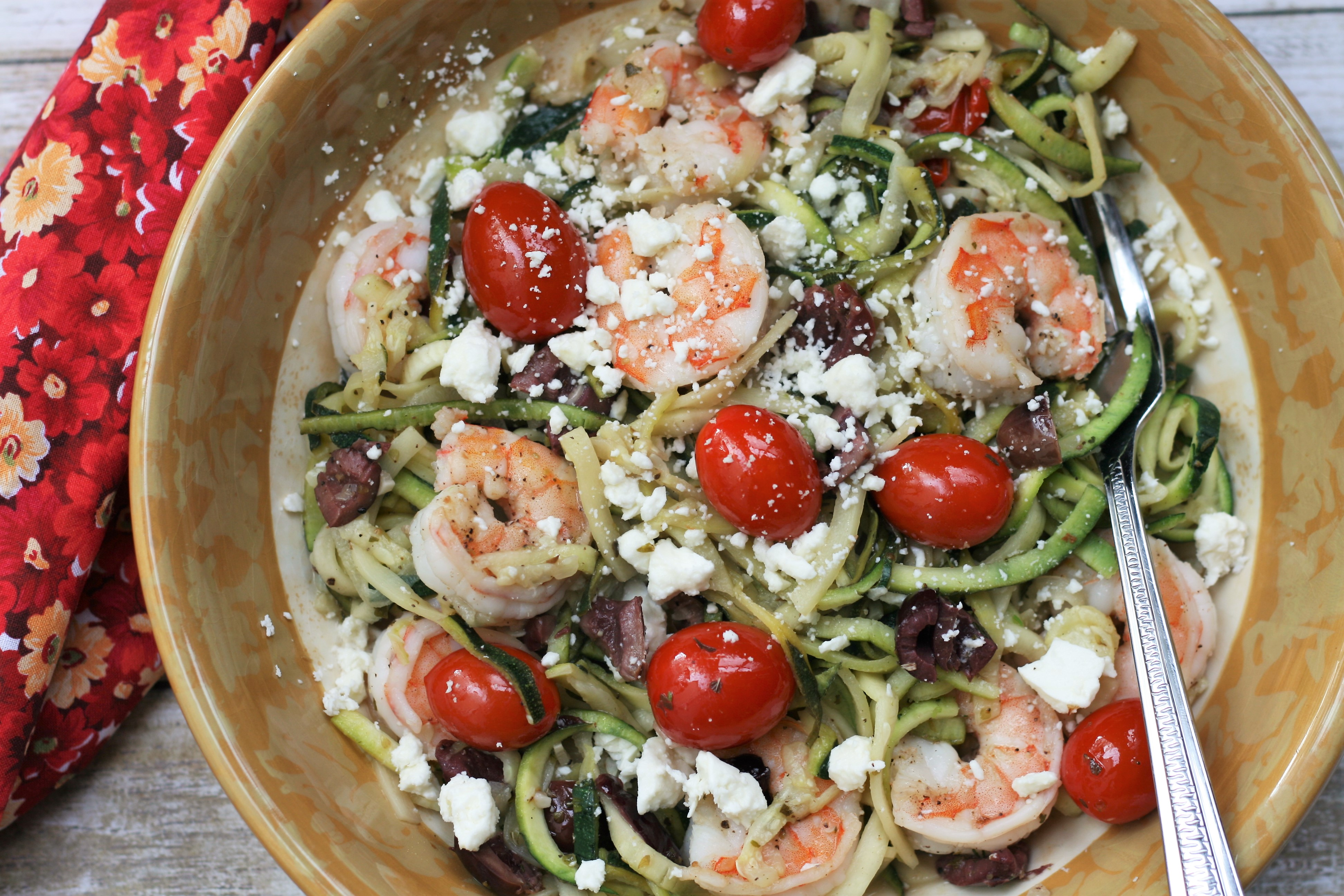 Mediterranean Zoodles with Shrimp
